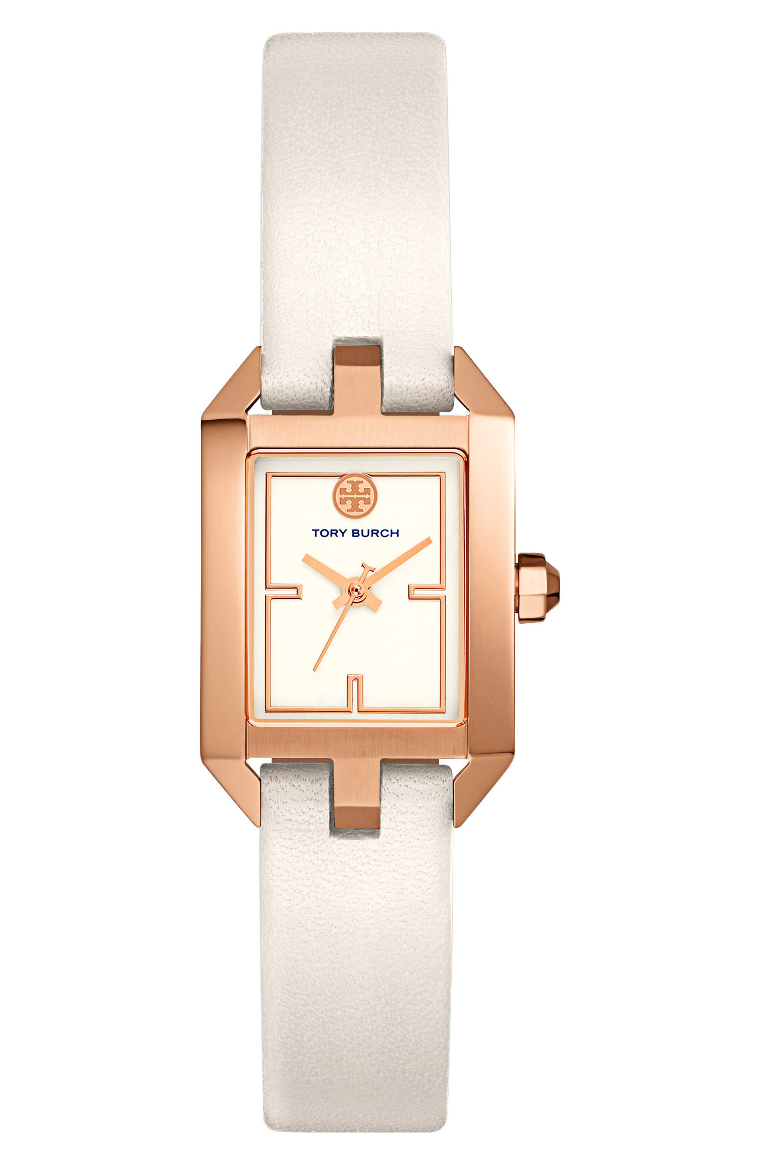 Dalloway Leather Strap Watch, 23mm x 36.5mm,                             Main thumbnail 1, color,                             Ivory/ Rose Gold