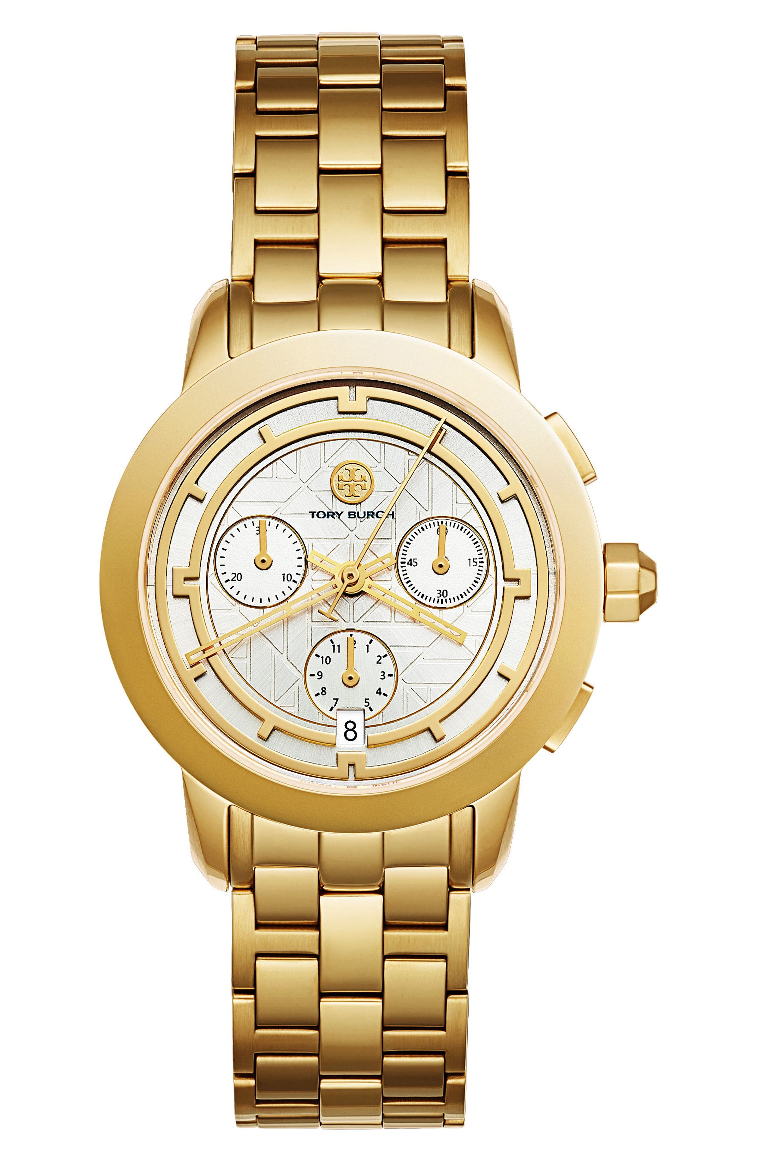 Main Image - Tory Burch Classic Chronograph Bracelet Watch, 37.5mm