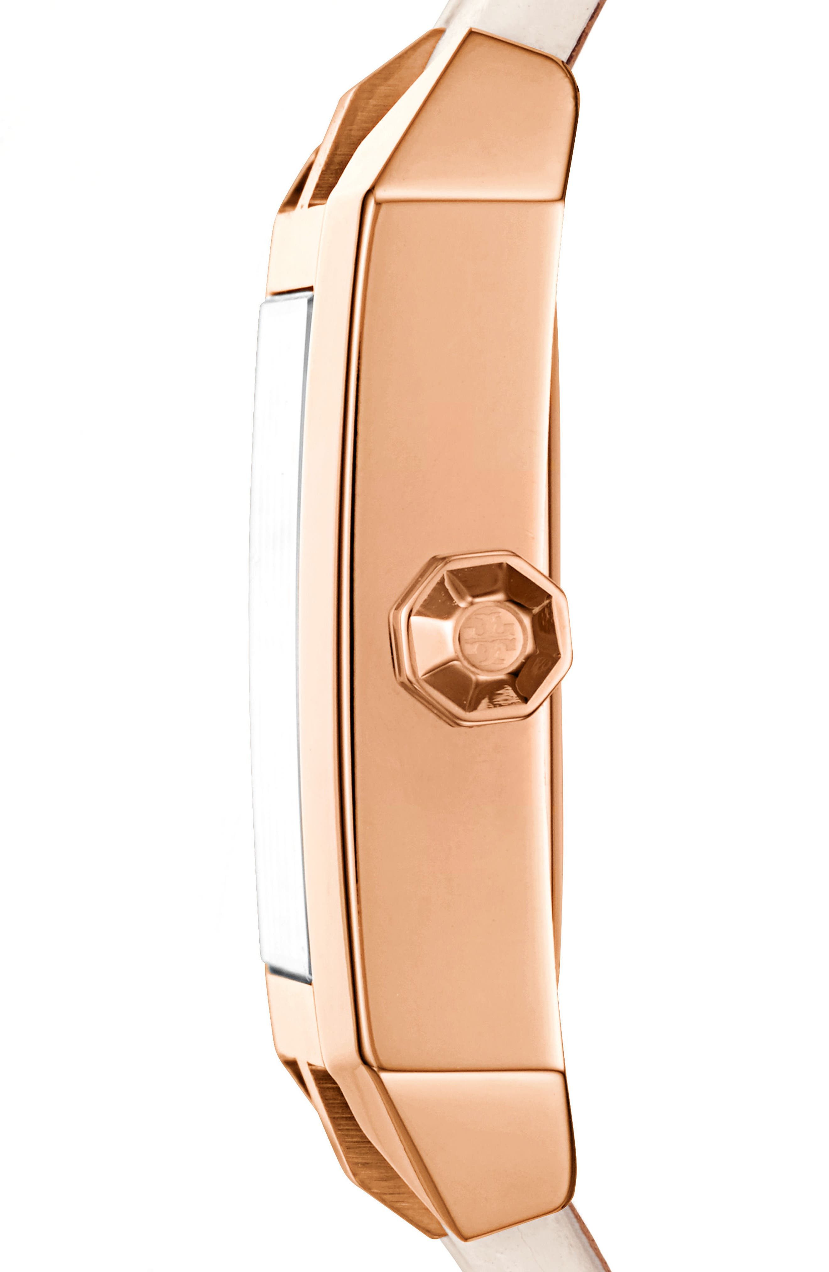 Dalloway Leather Strap Watch, 23mm x 36.5mm,                             Alternate thumbnail 2, color,                             Ivory/ Rose Gold