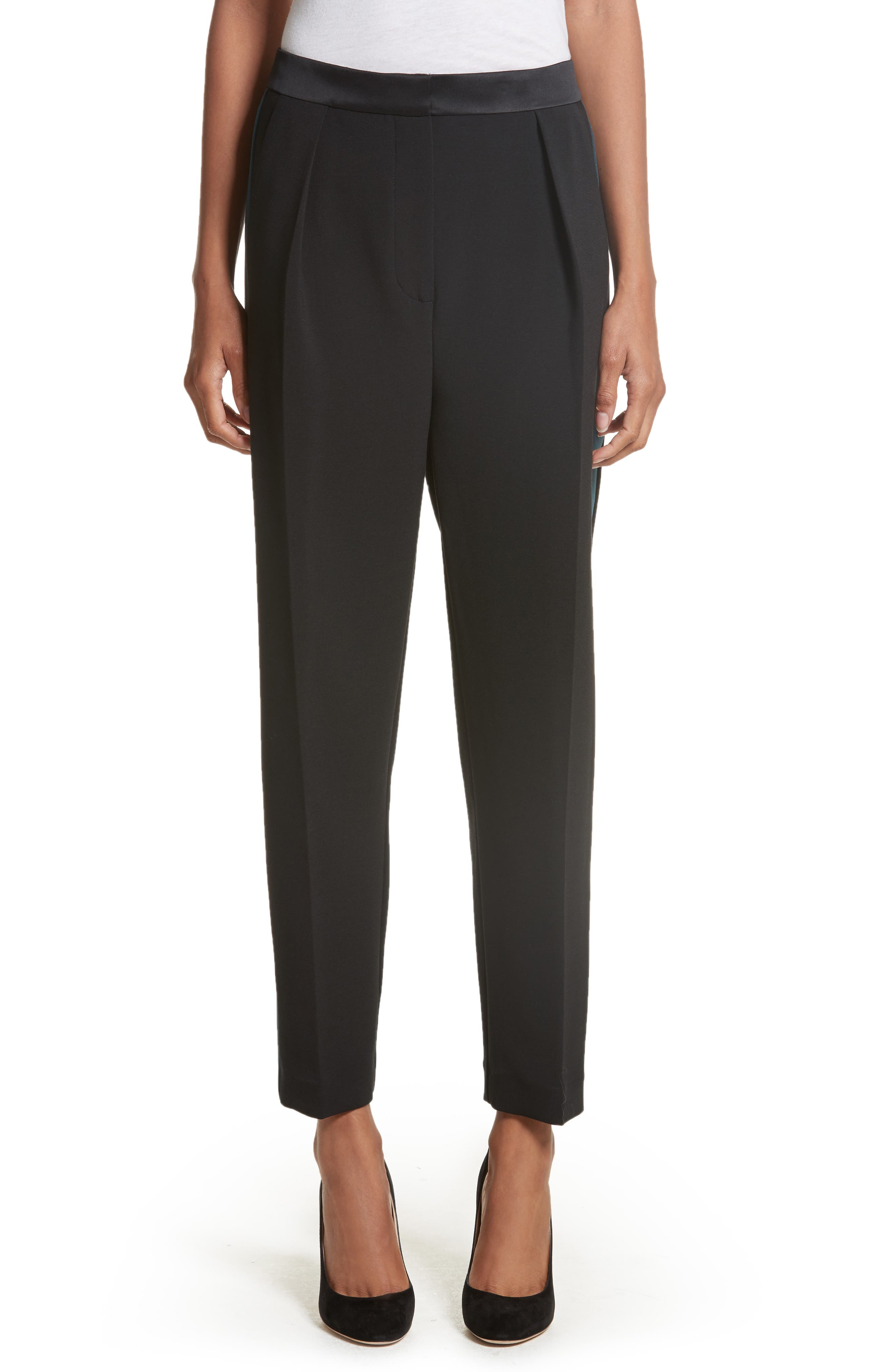 Surikov Crop Tuxedo Pants,                         Main,                         color, Black/ Peacock