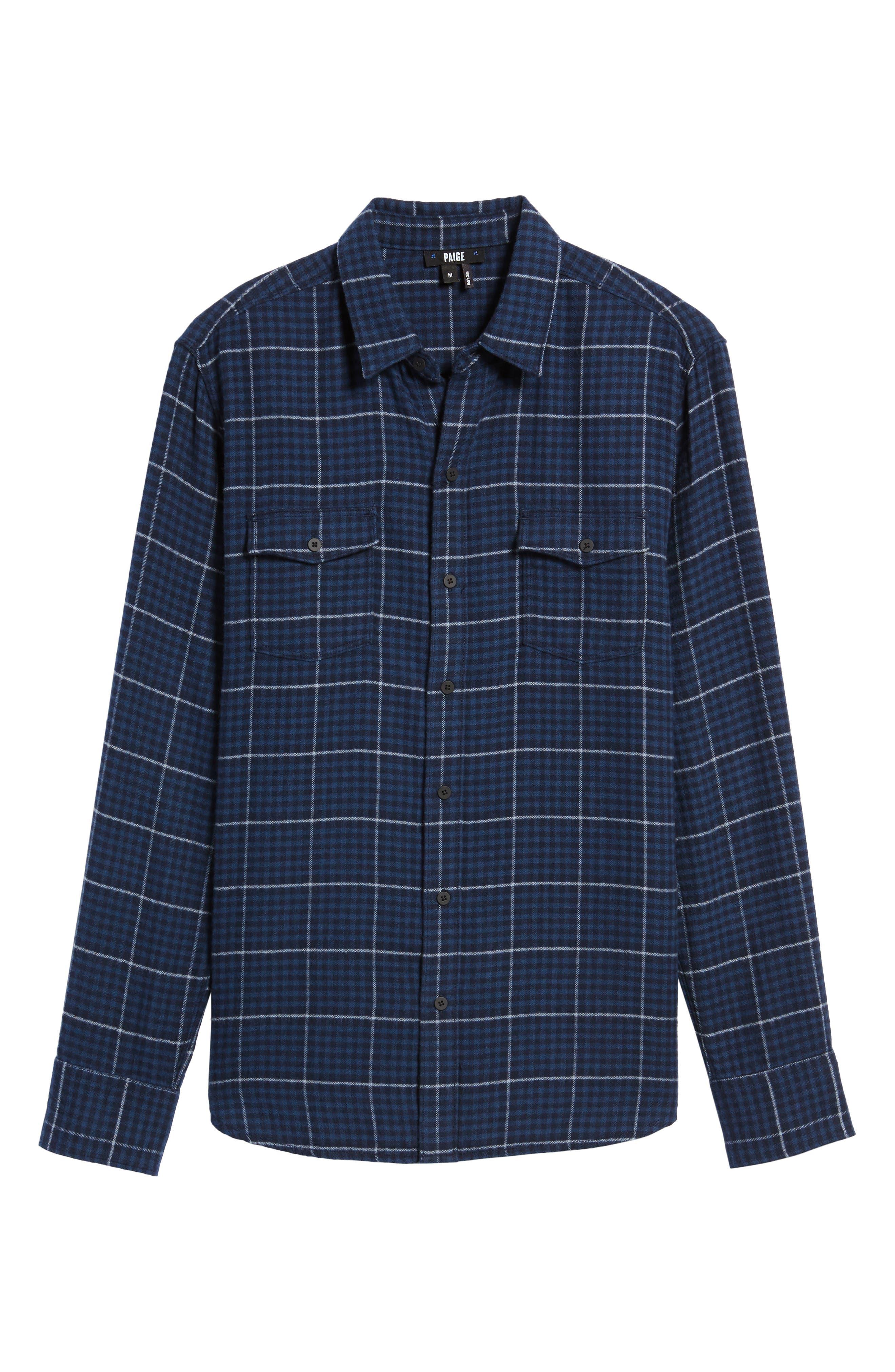 Everett Tattersall Check Sport Shirt,                             Alternate thumbnail 5, color,                             Blue Echo