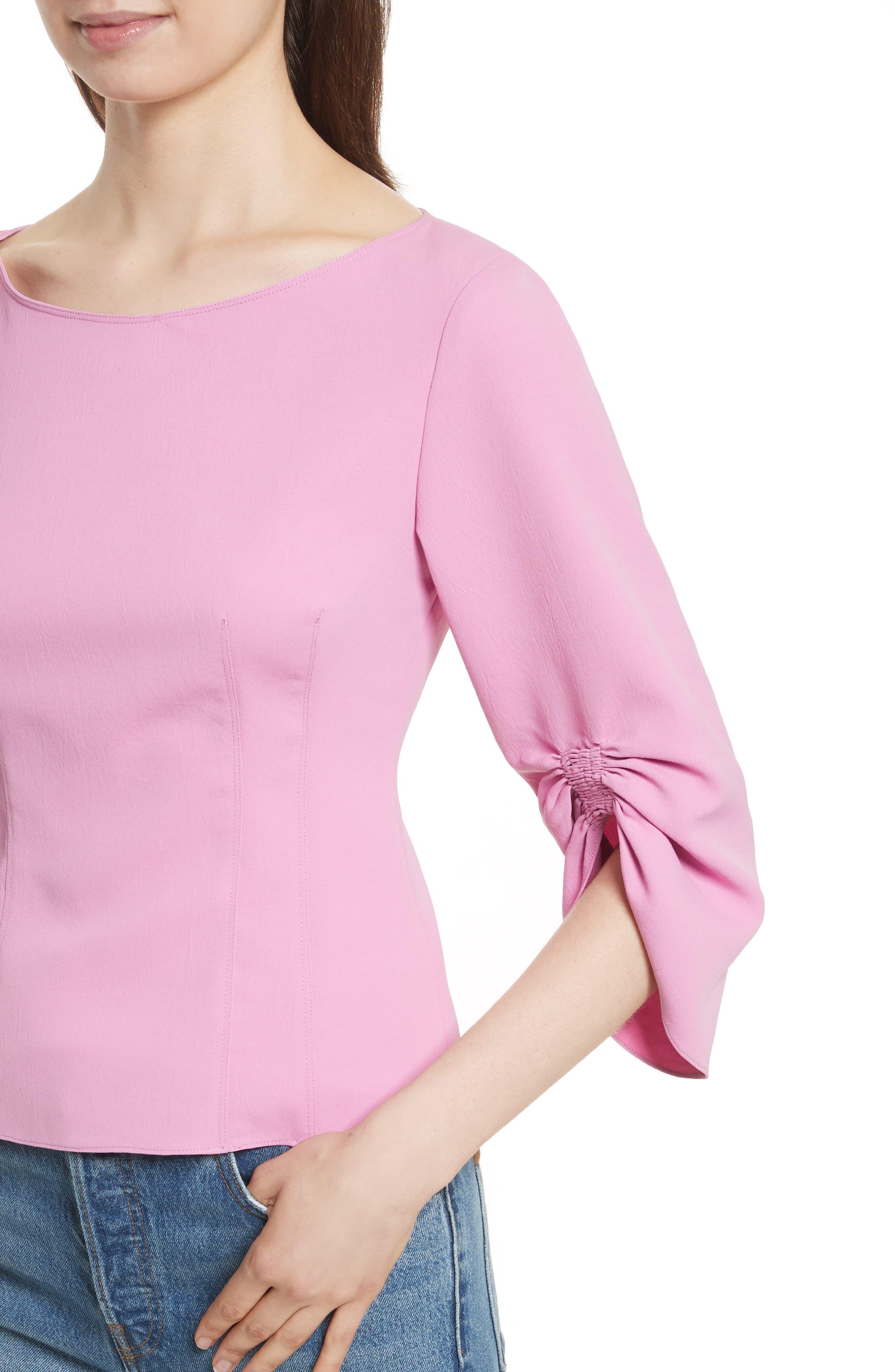Draped Twill Corset Top,                             Alternate thumbnail 4, color,                             Pink