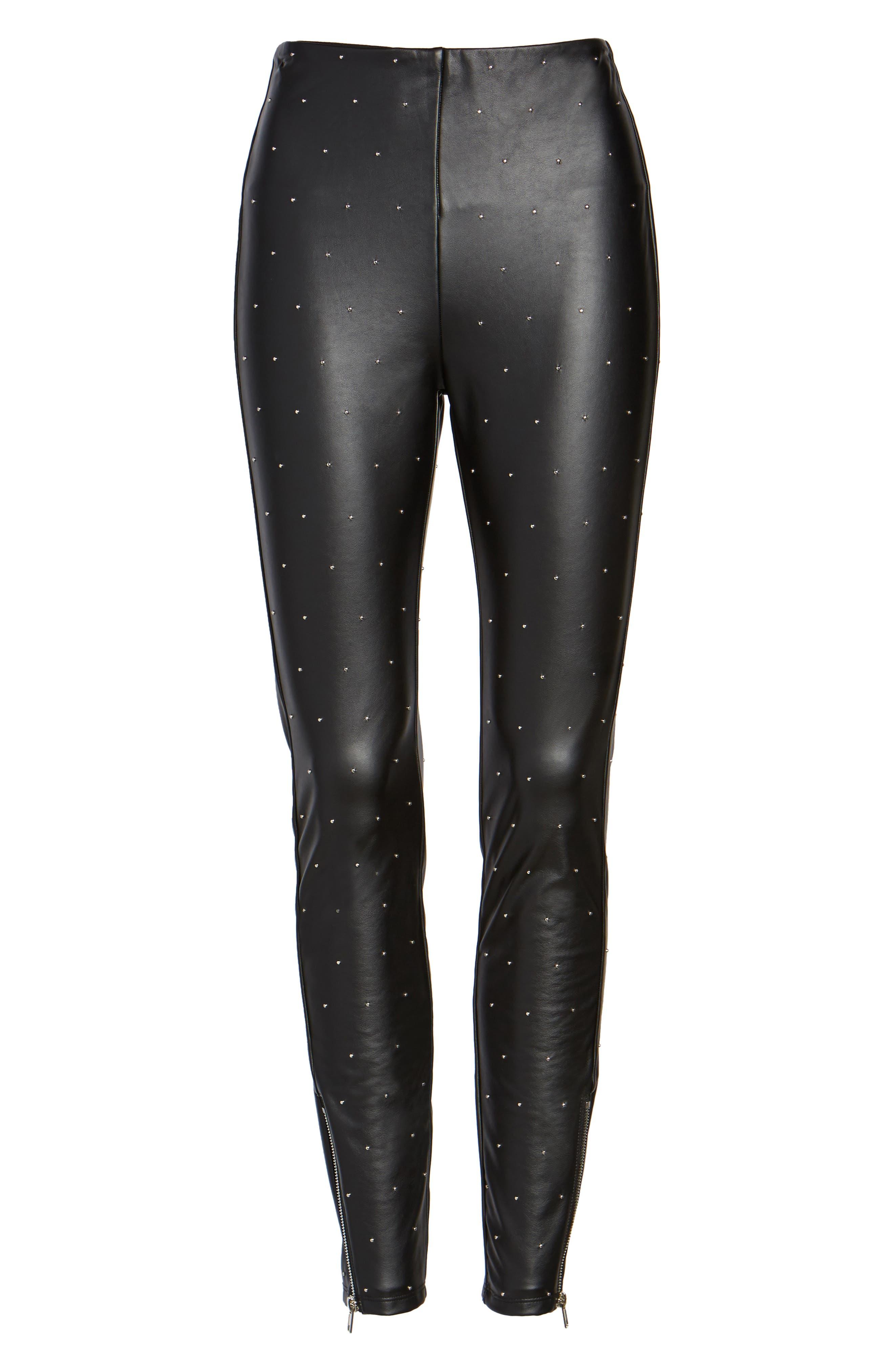 Bowery Studded High Waist Leggings,                             Alternate thumbnail 6, color,                             Silver Dot