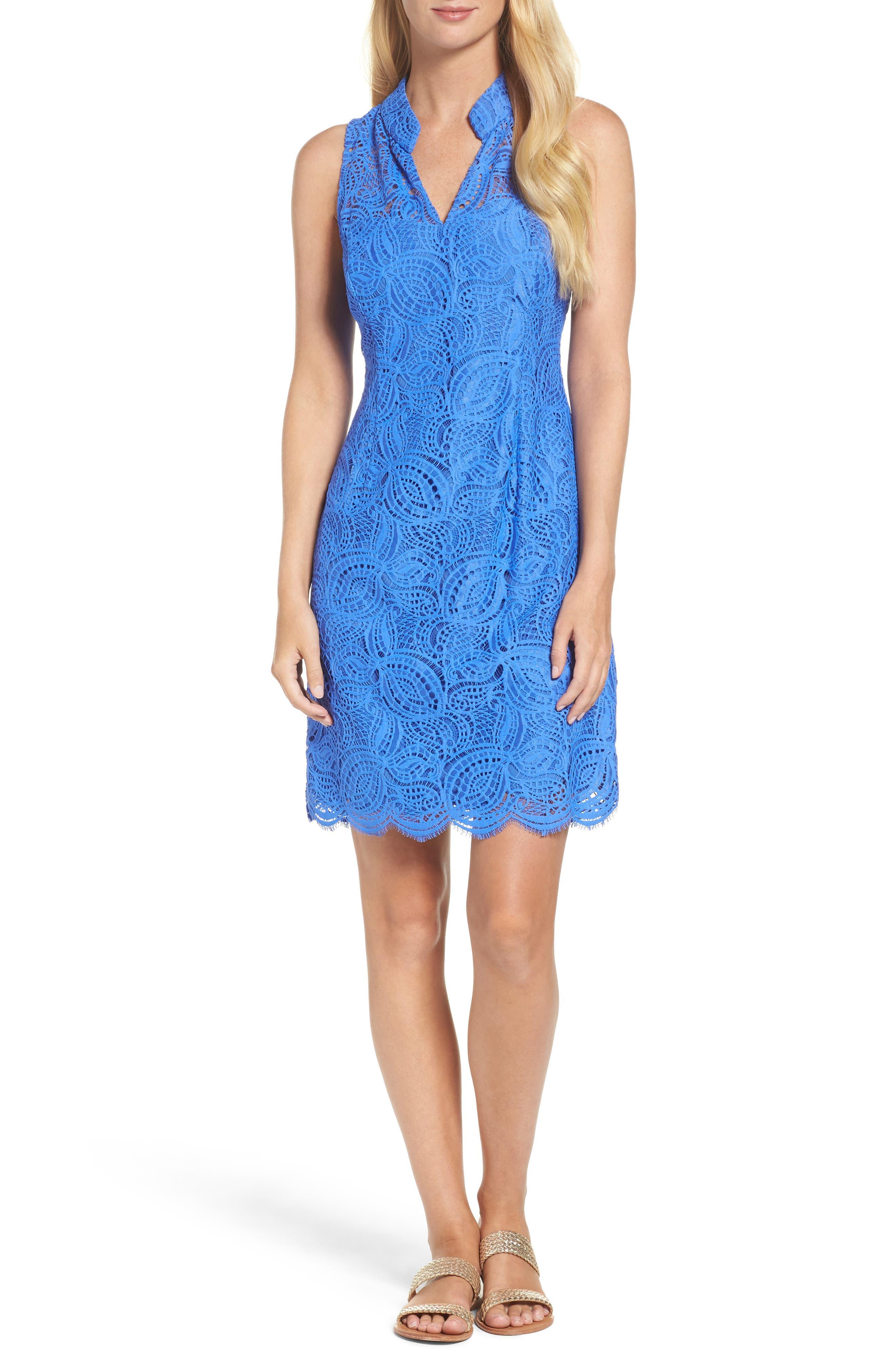 Alexa Lace Sheath Dress,                         Main,                         color, Beckon Blue