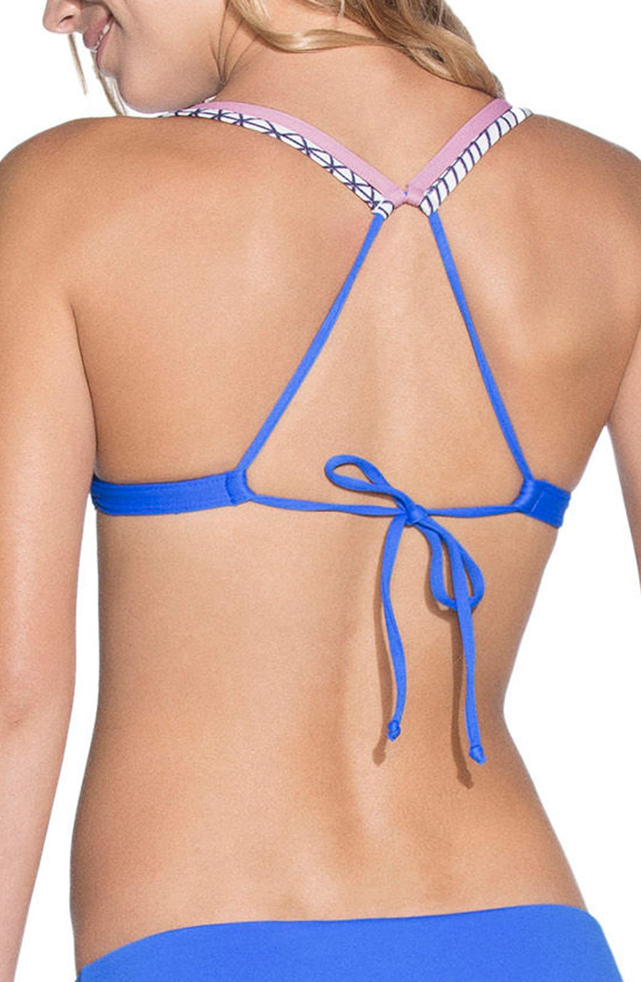Neptune Blue Cocktail Reversible Bikini Top,                             Alternate thumbnail 3, color,                             Blue