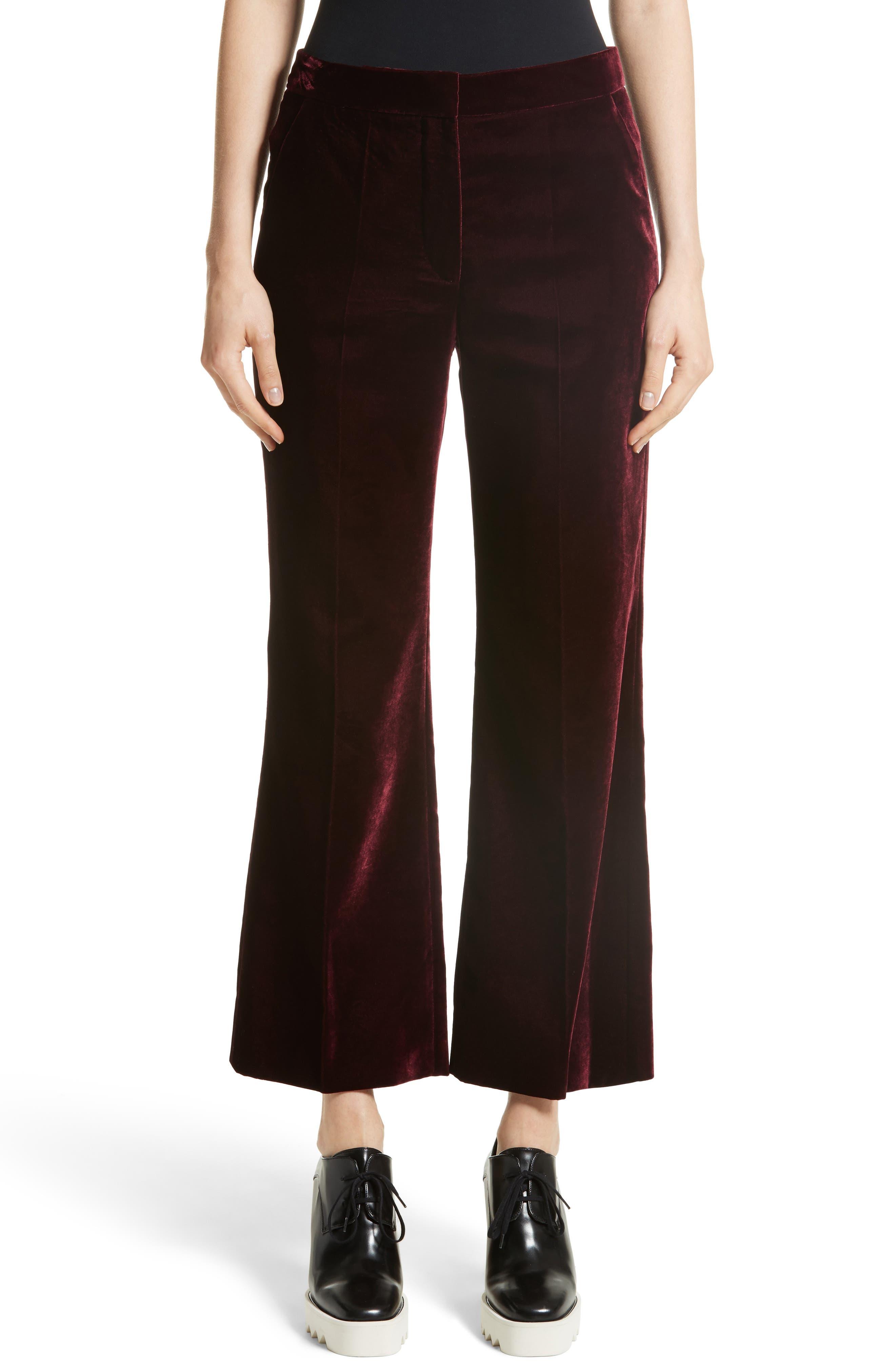 Bonded Velvet Crop Pants,                             Main thumbnail 1, color,                             Burgundy