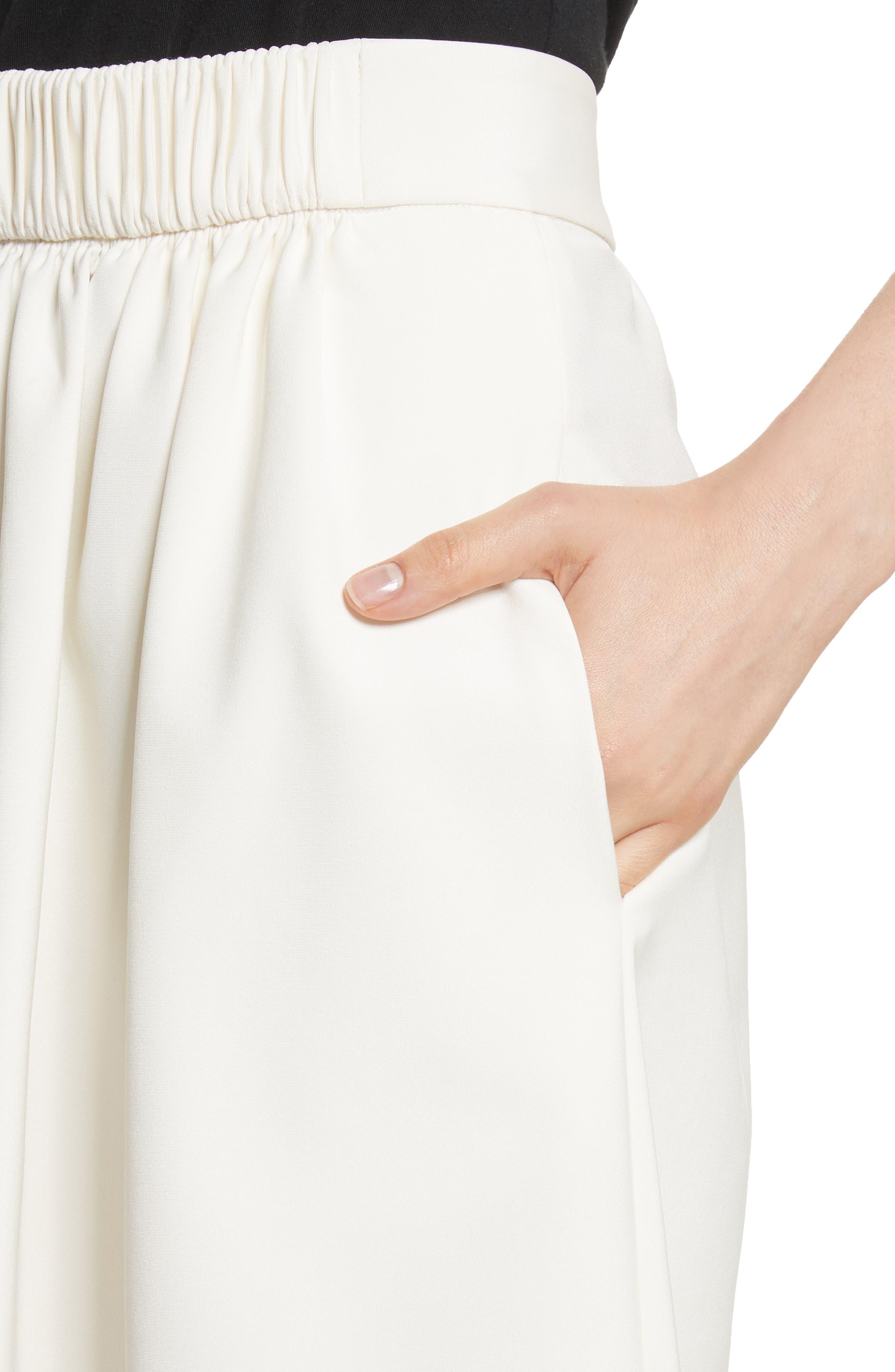 Stretch Faille Full Midi Skirt,                             Alternate thumbnail 4, color,                             Ivory
