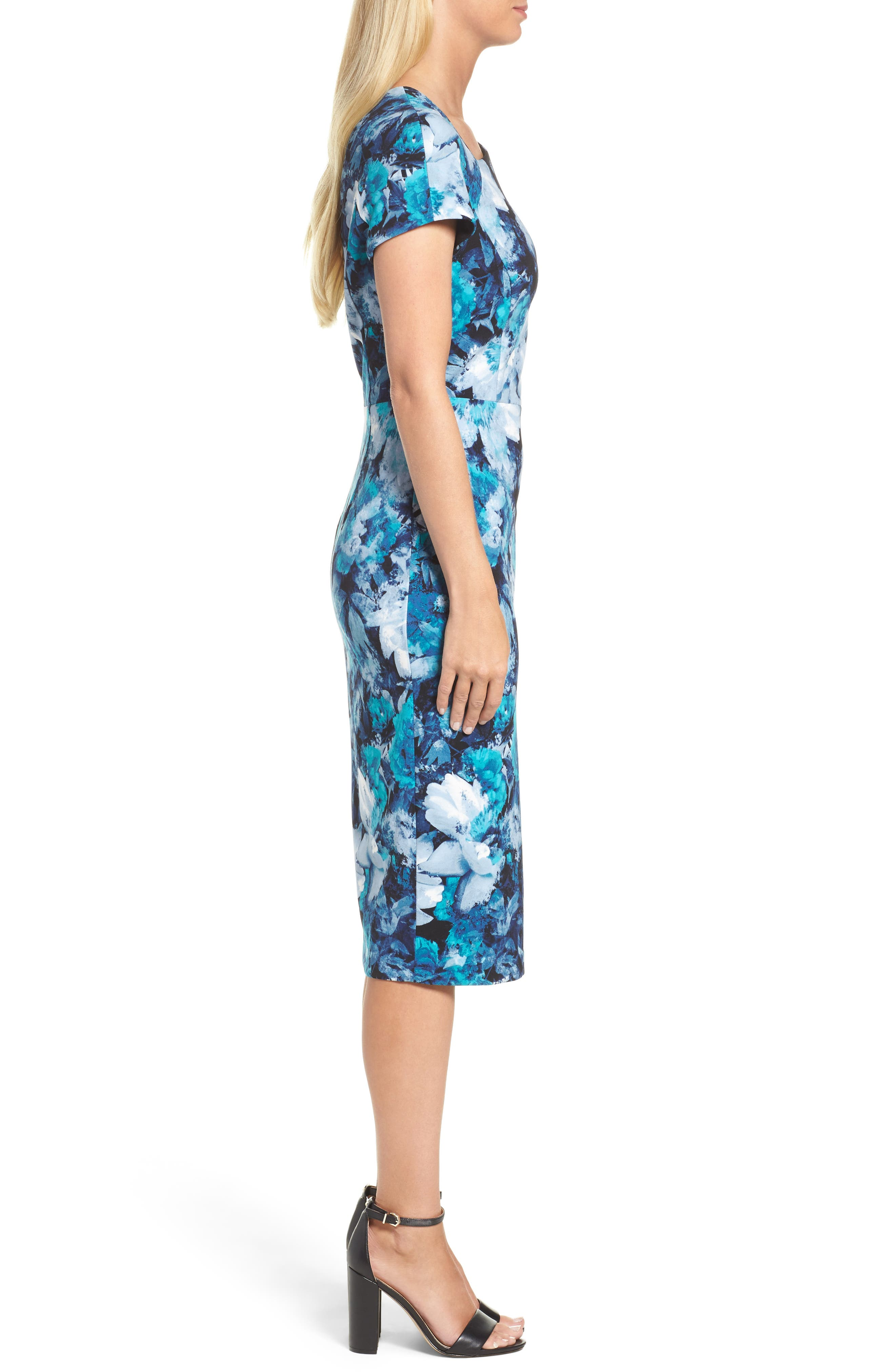 Asymmetrical Sheath Dress,                             Alternate thumbnail 3, color,                             Black/ Blue
