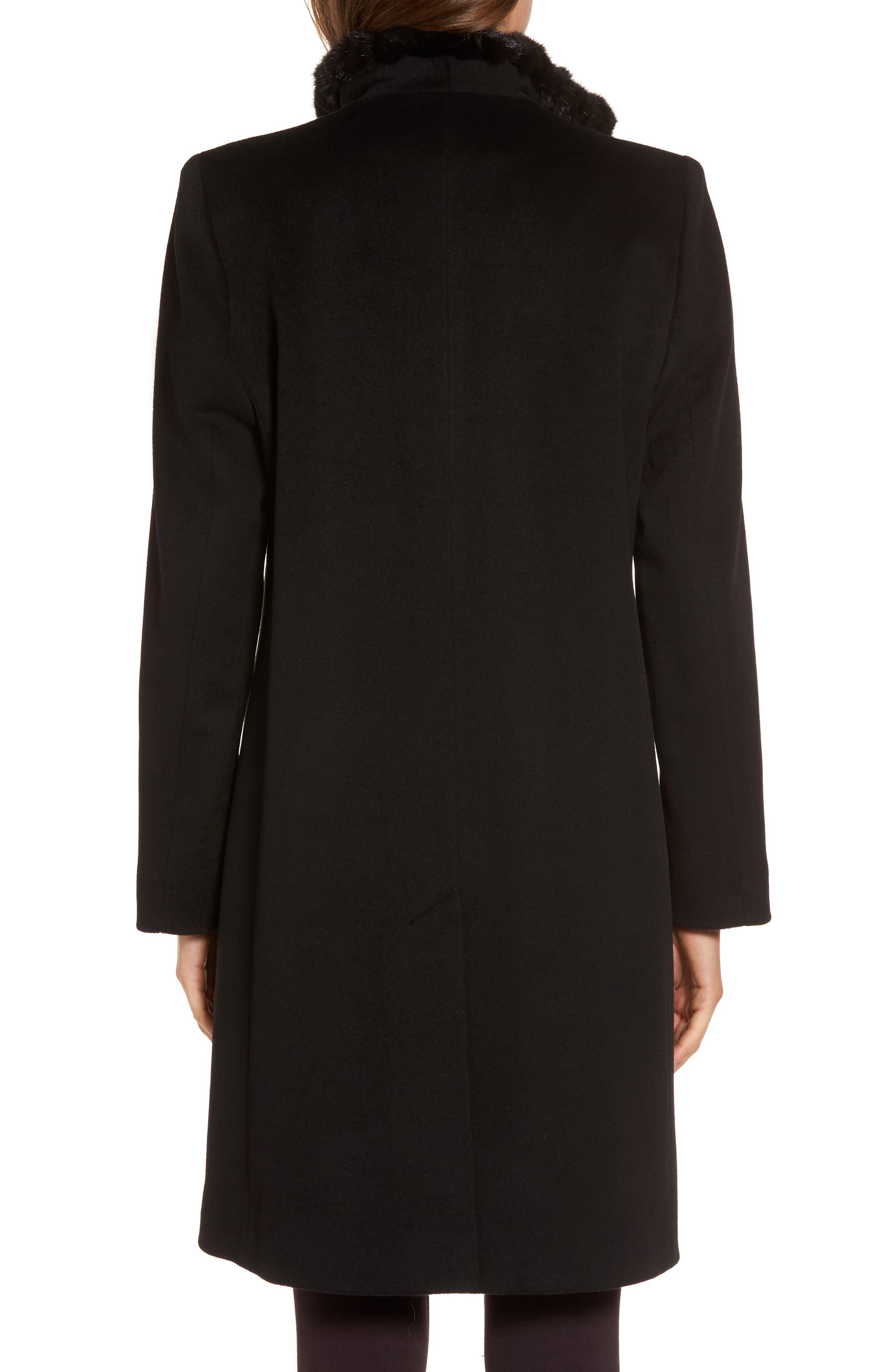 Loro Piana Wool Wing Collar Coat with Genuine Mink Trim,                             Alternate thumbnail 2, color,                             Black