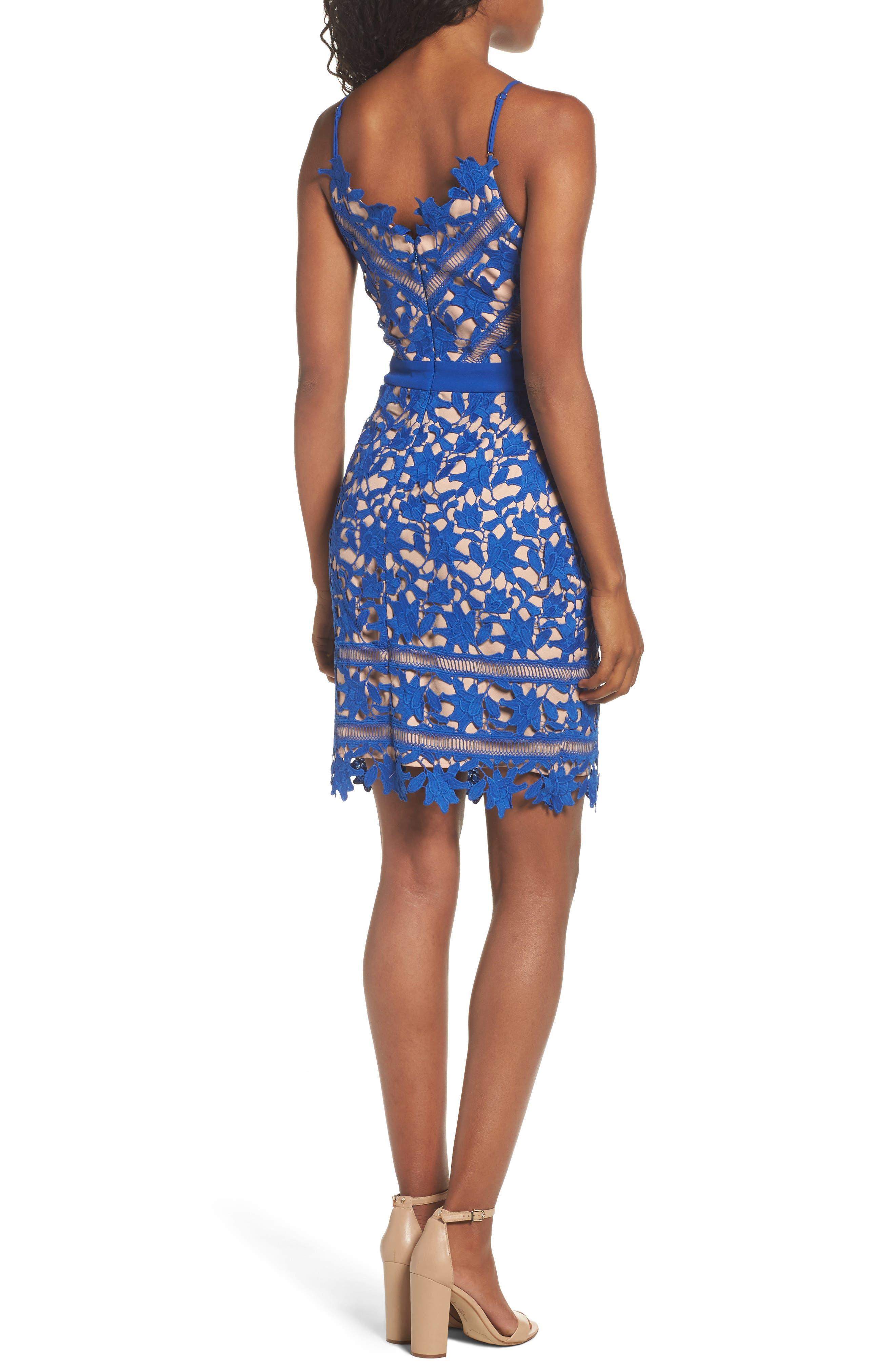 Whitney Lace Sheath Dress,                             Alternate thumbnail 2, color,                             Blue