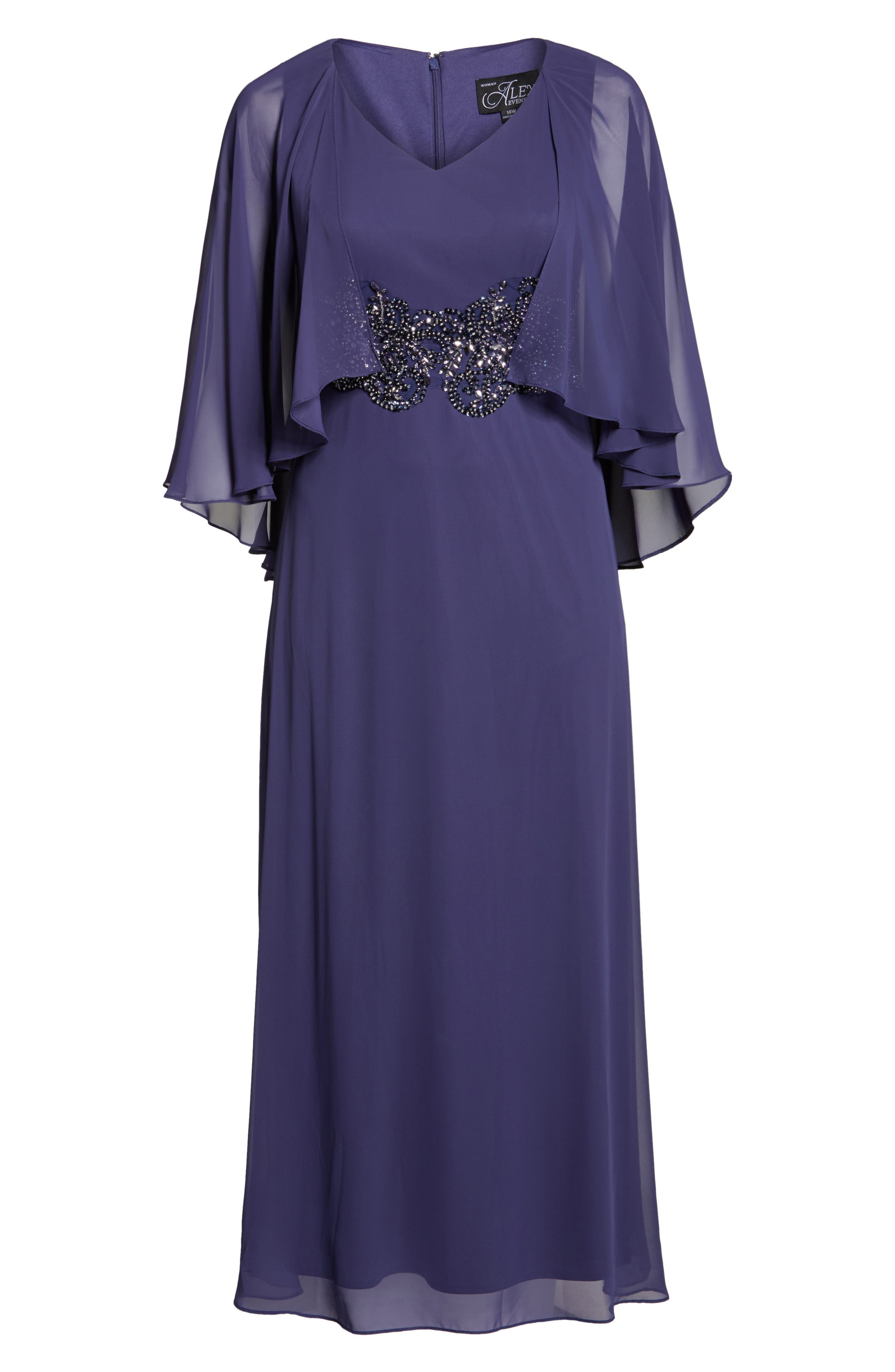 Embellished Waist Capelet Gown,                             Alternate thumbnail 6, color,                             Heather
