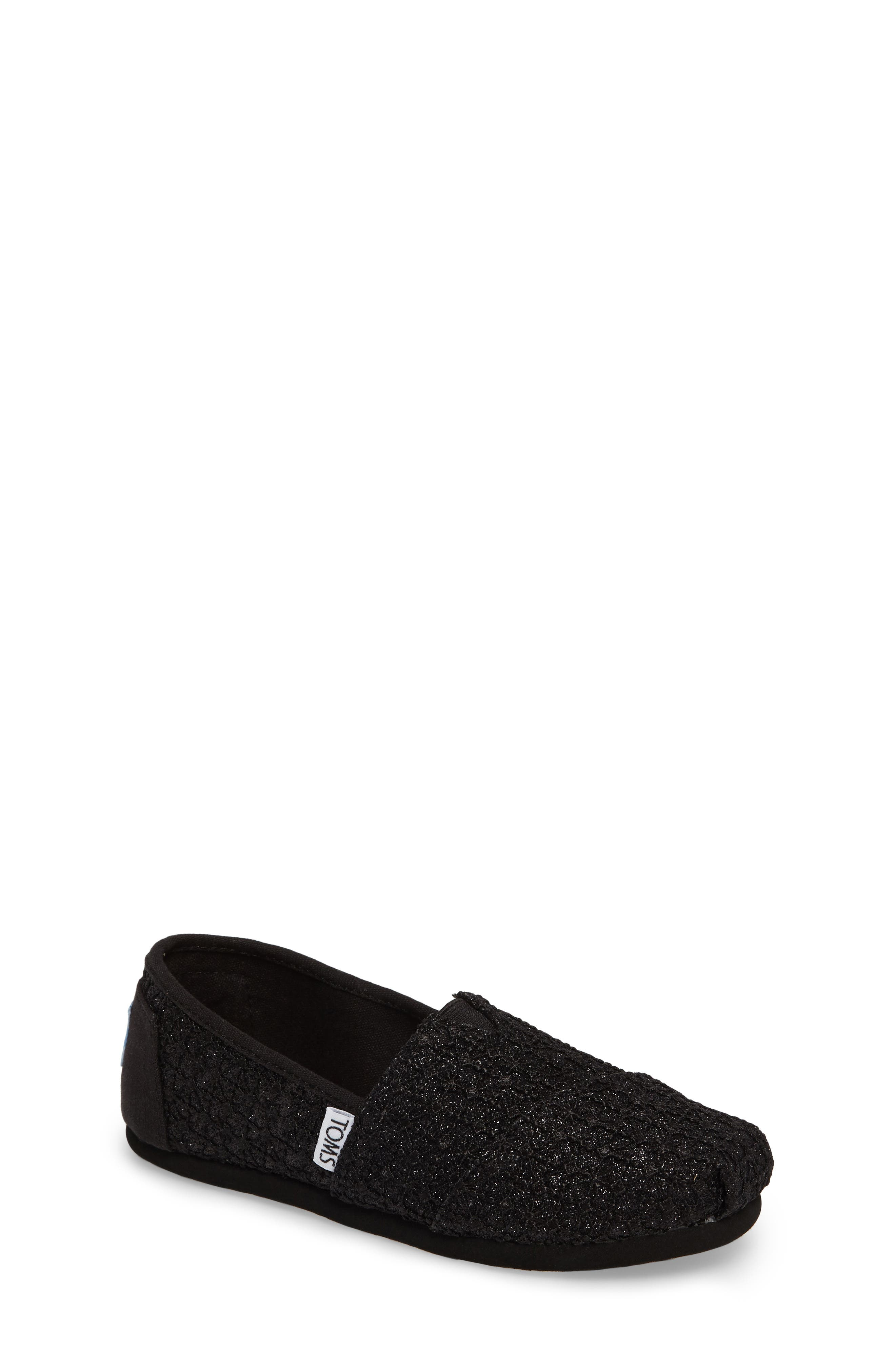 Lace Glimmer Slip-On,                             Main thumbnail 1, color,                             Black