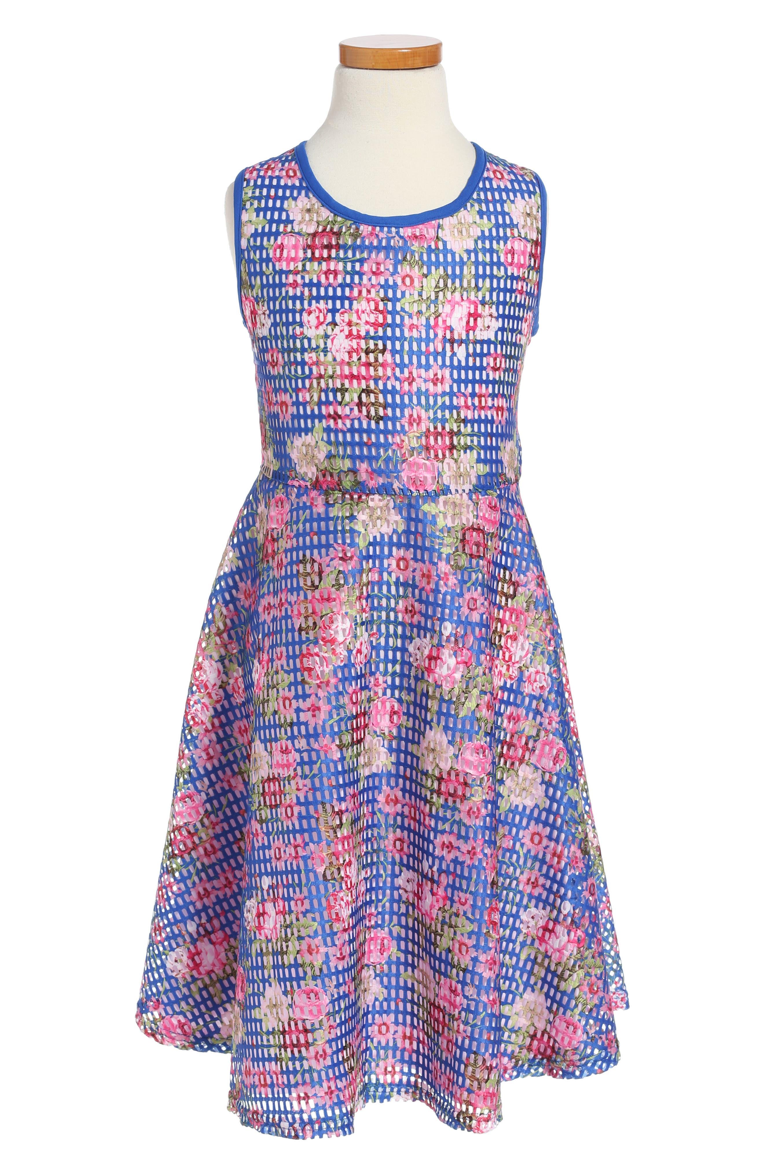 Floral Skater Dress,                         Main,                         color, Blue