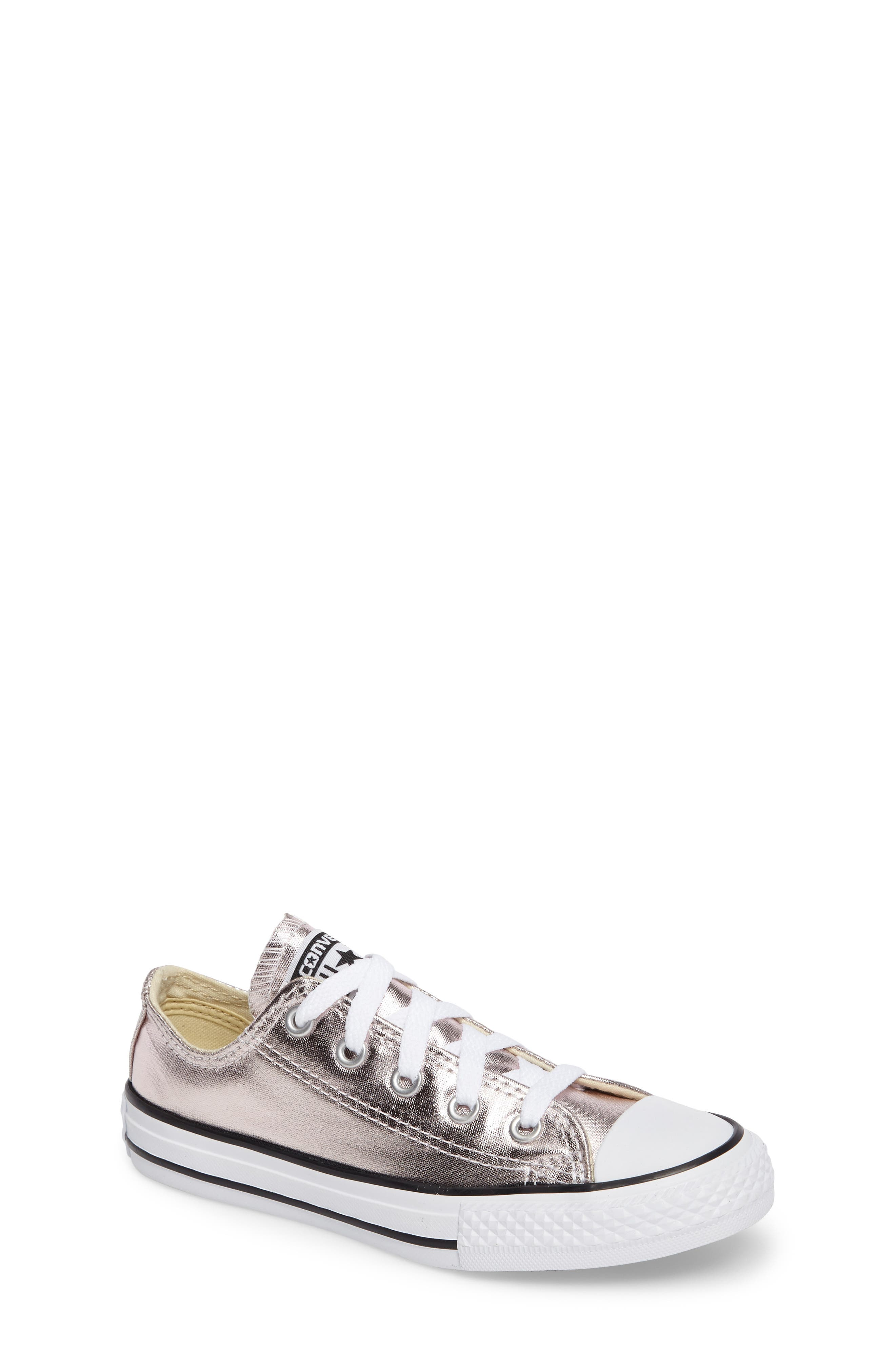 Chuck Taylor<sup>®</sup> All Star<sup>®</sup> Ox Metallic Low Top Sneaker,                         Main,                         color, Rose Quartz/ White/ Black