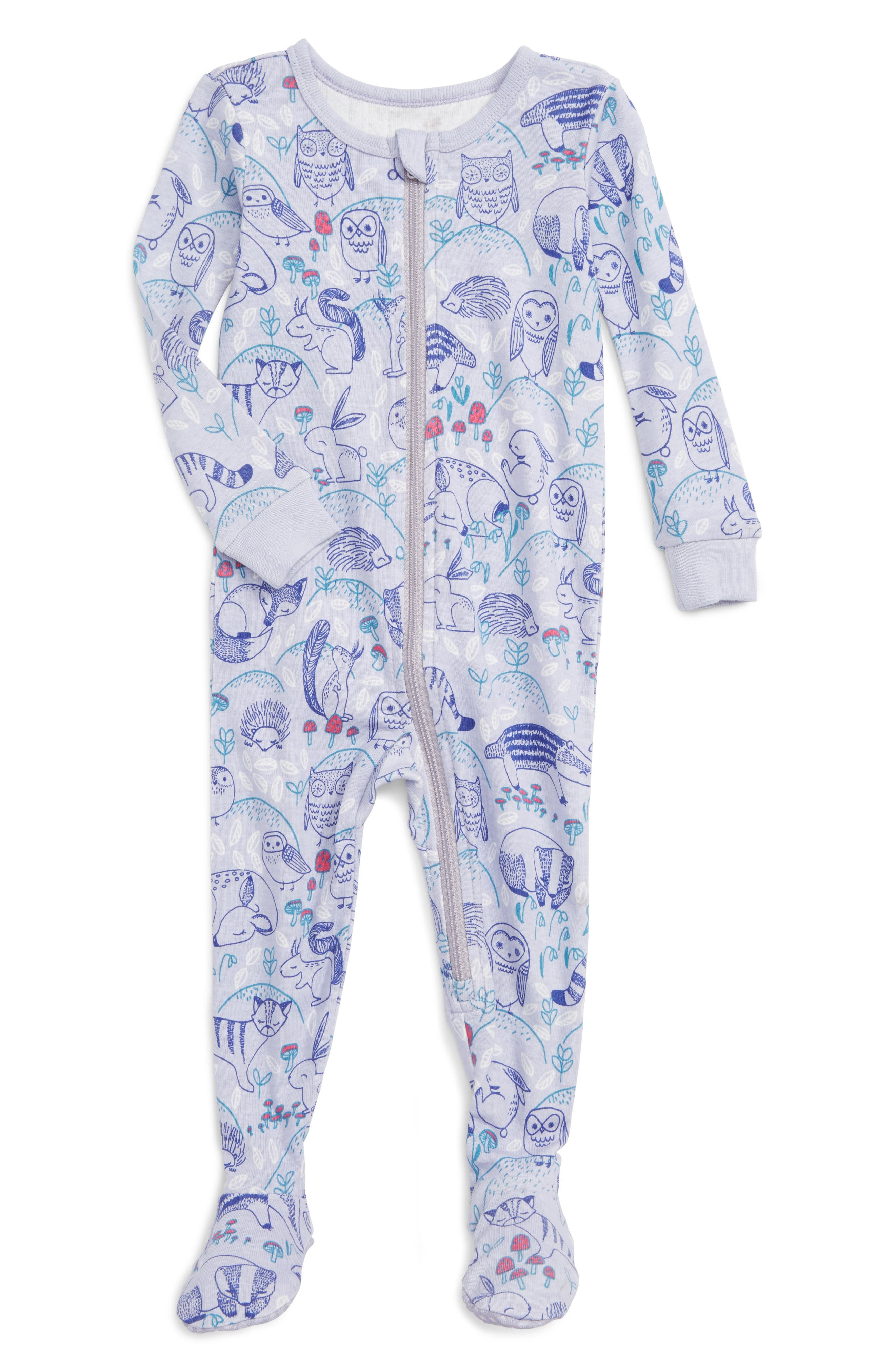 Tea Collection Frith Print Fitted One-Piece Pajamas (Baby Girls)