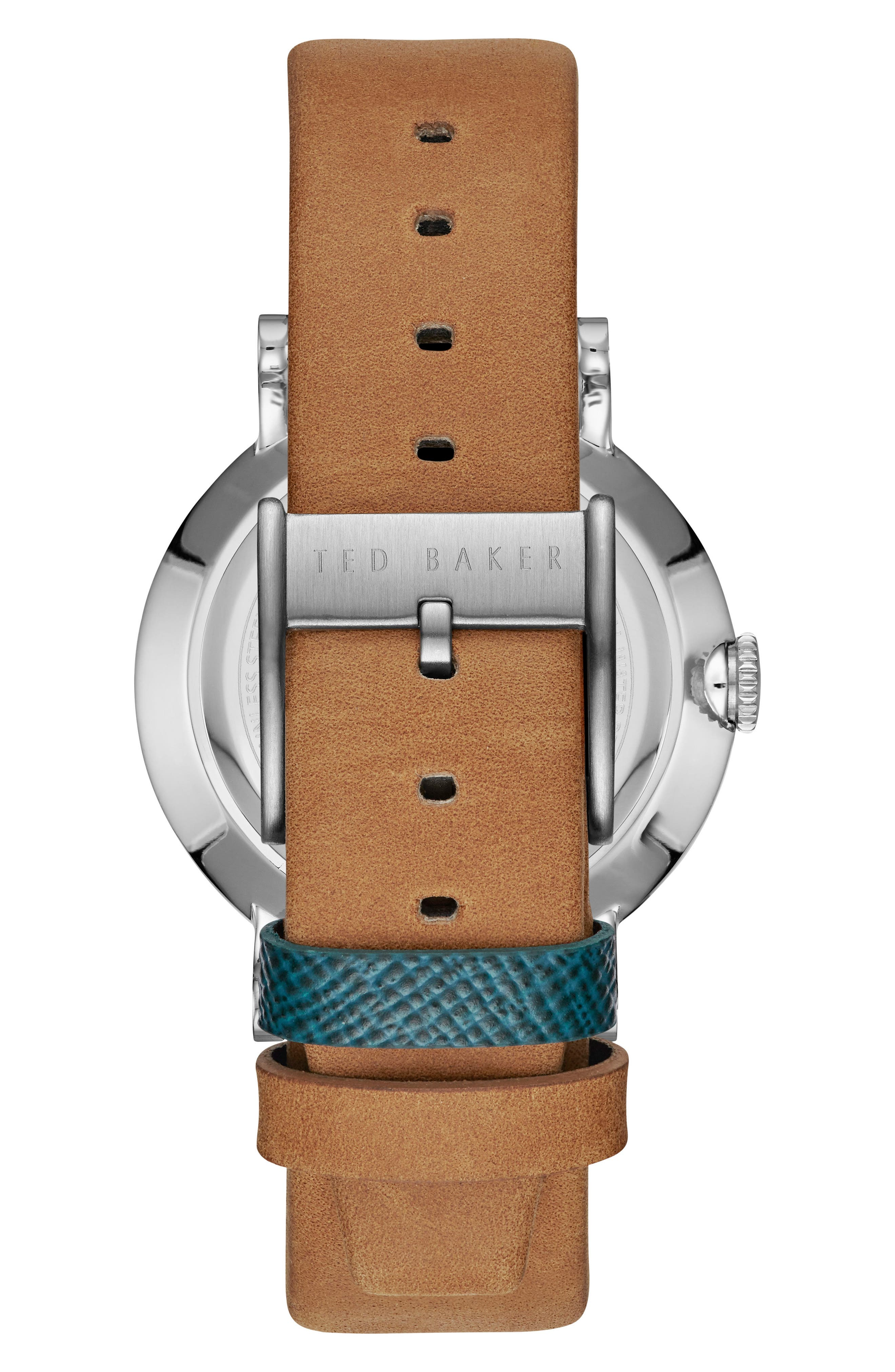 Alternate Image 2  - Ted Baker London Aiden Multifunction Leather Strap Watch, 41mm
