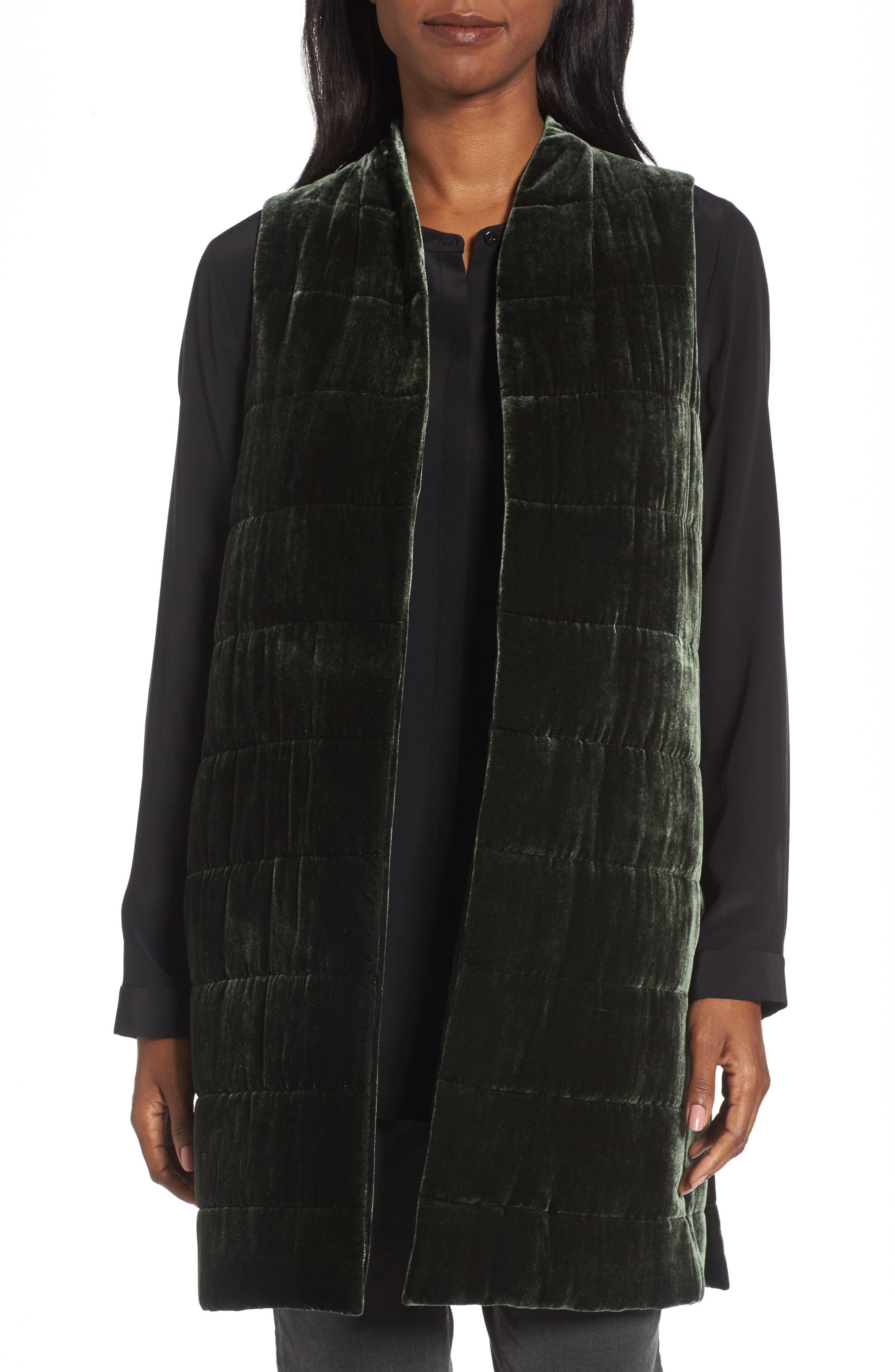 Long Quilted Velvet Vest,                         Main,                         color, Deep Hemlock