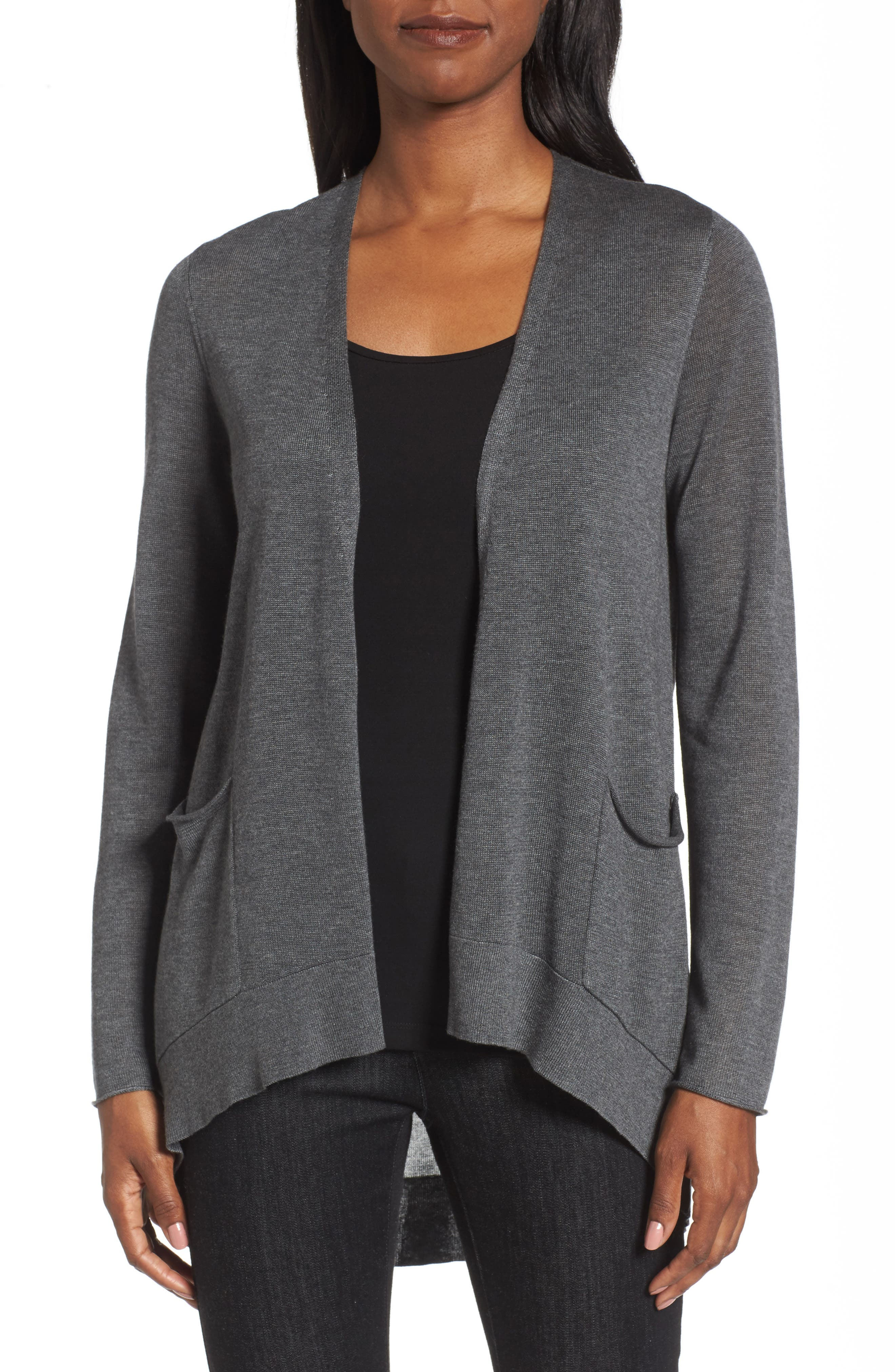 Slouchy Tencel<sup>®</sup> Blend Cardigan,                             Main thumbnail 1, color,                             Ash