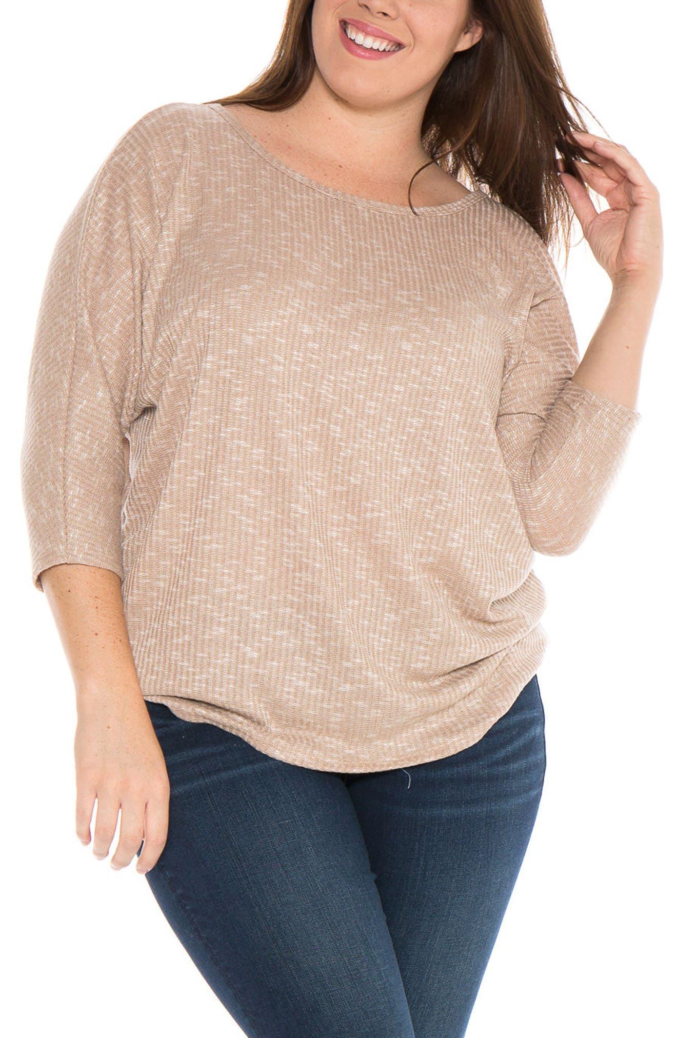 Main Image - SLINK Jeans Marble Knit Dolman Top (Plus Size)