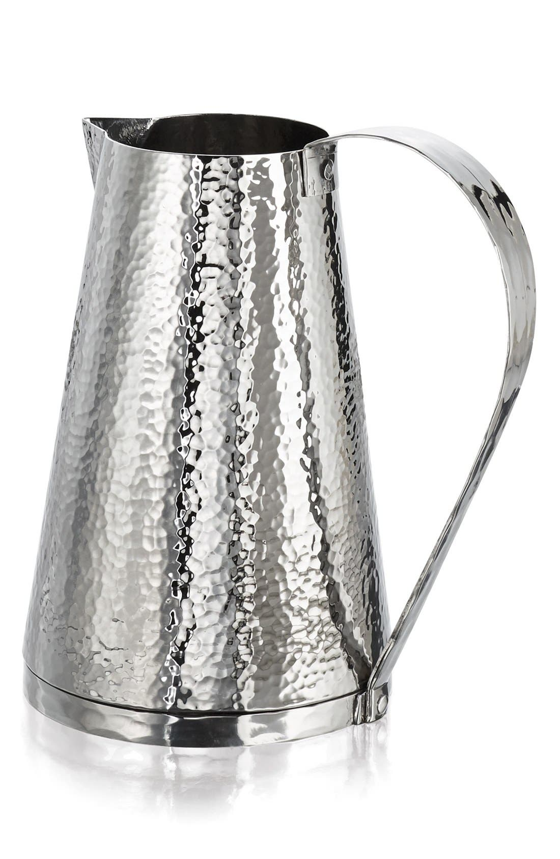 'Rivet' Hammered Stainless Steel Pitcher,                         Main,                         color, Silver