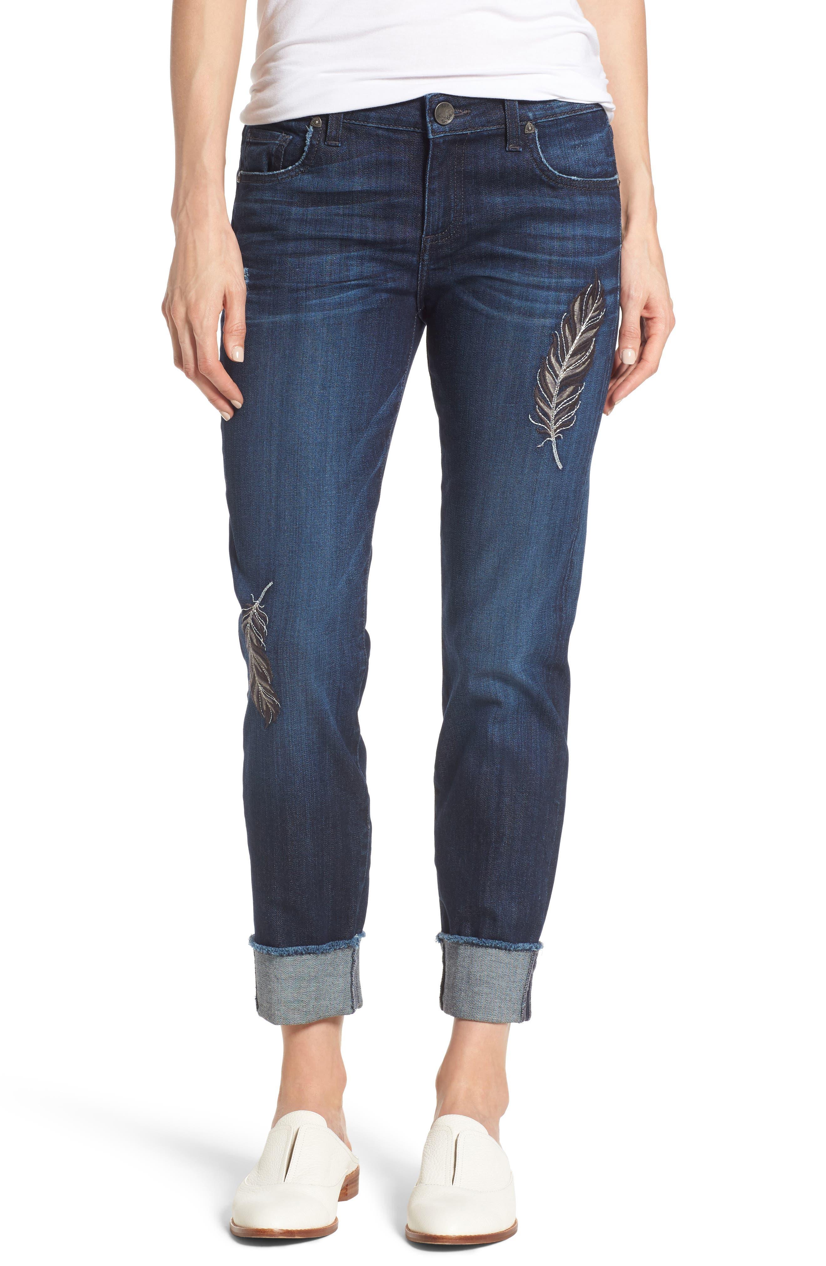Amy Cuffed Crop Jeans,                         Main,                         color, Overt W/ Dark Stone Base Wash