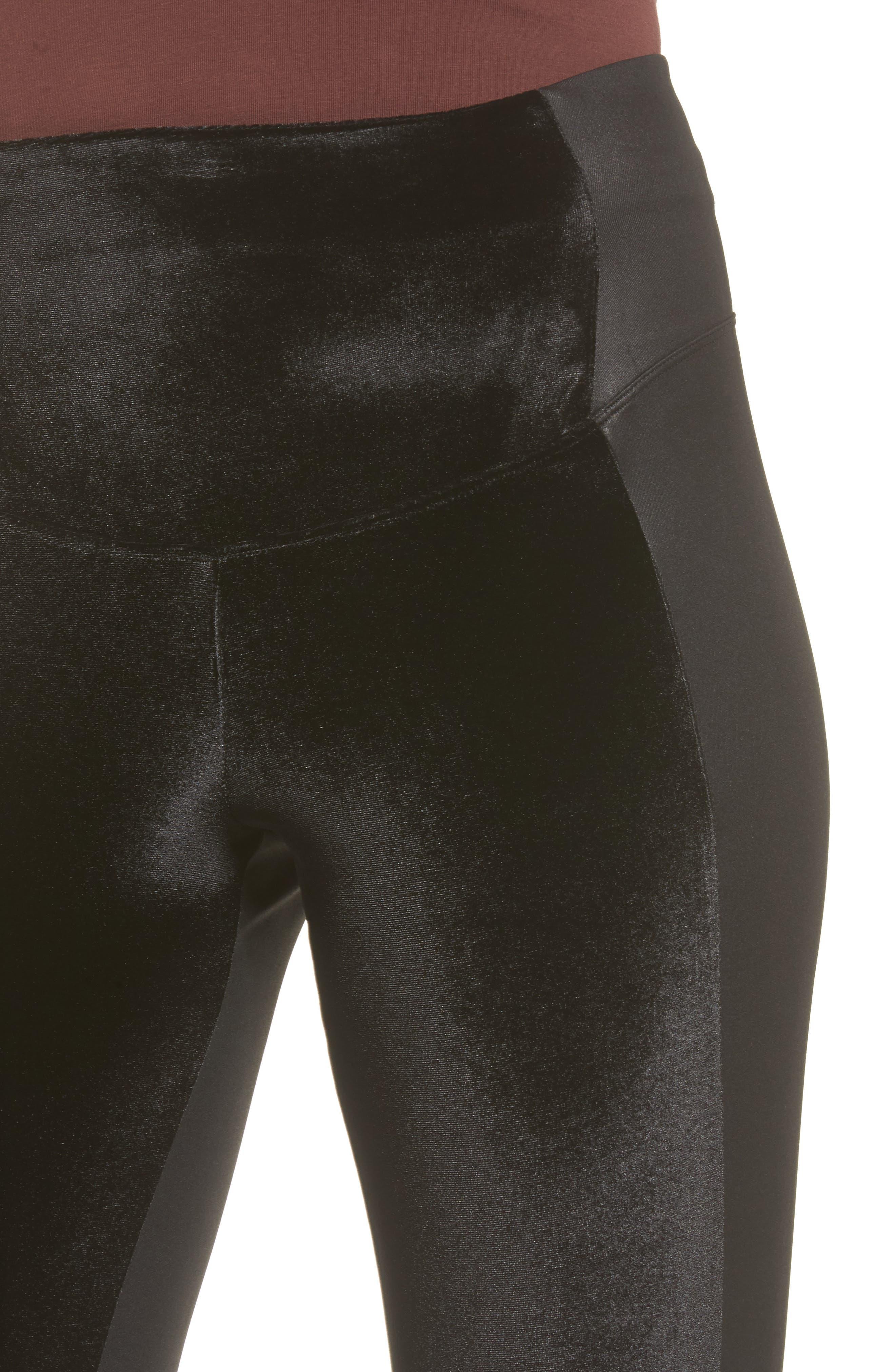 Velvet Panel Ankle Leggings,                             Alternate thumbnail 5, color,                             Black