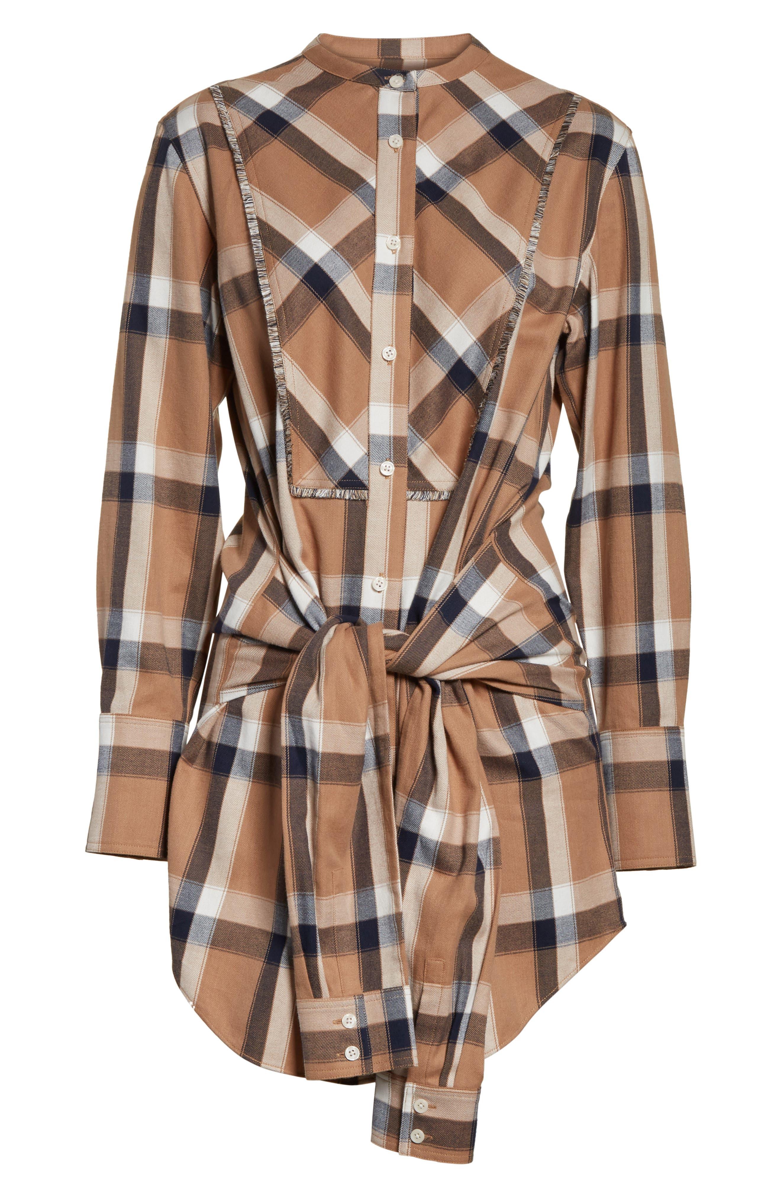 Plaid Tie Waist Dress,                             Alternate thumbnail 6, color,                             Camel