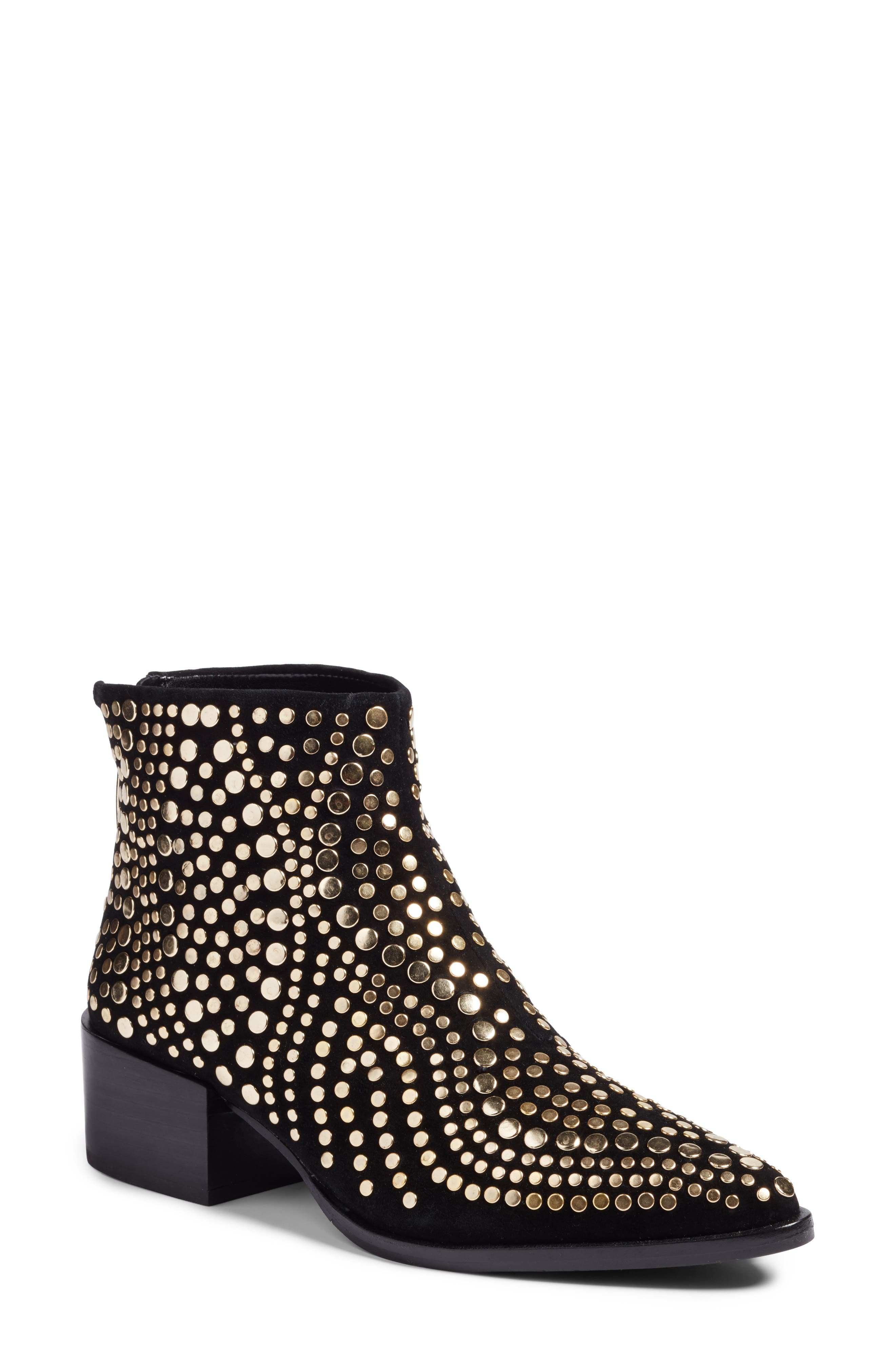 Edenny Studded Pointy Toe Bootie,                             Main thumbnail 1, color,                             Black Suede