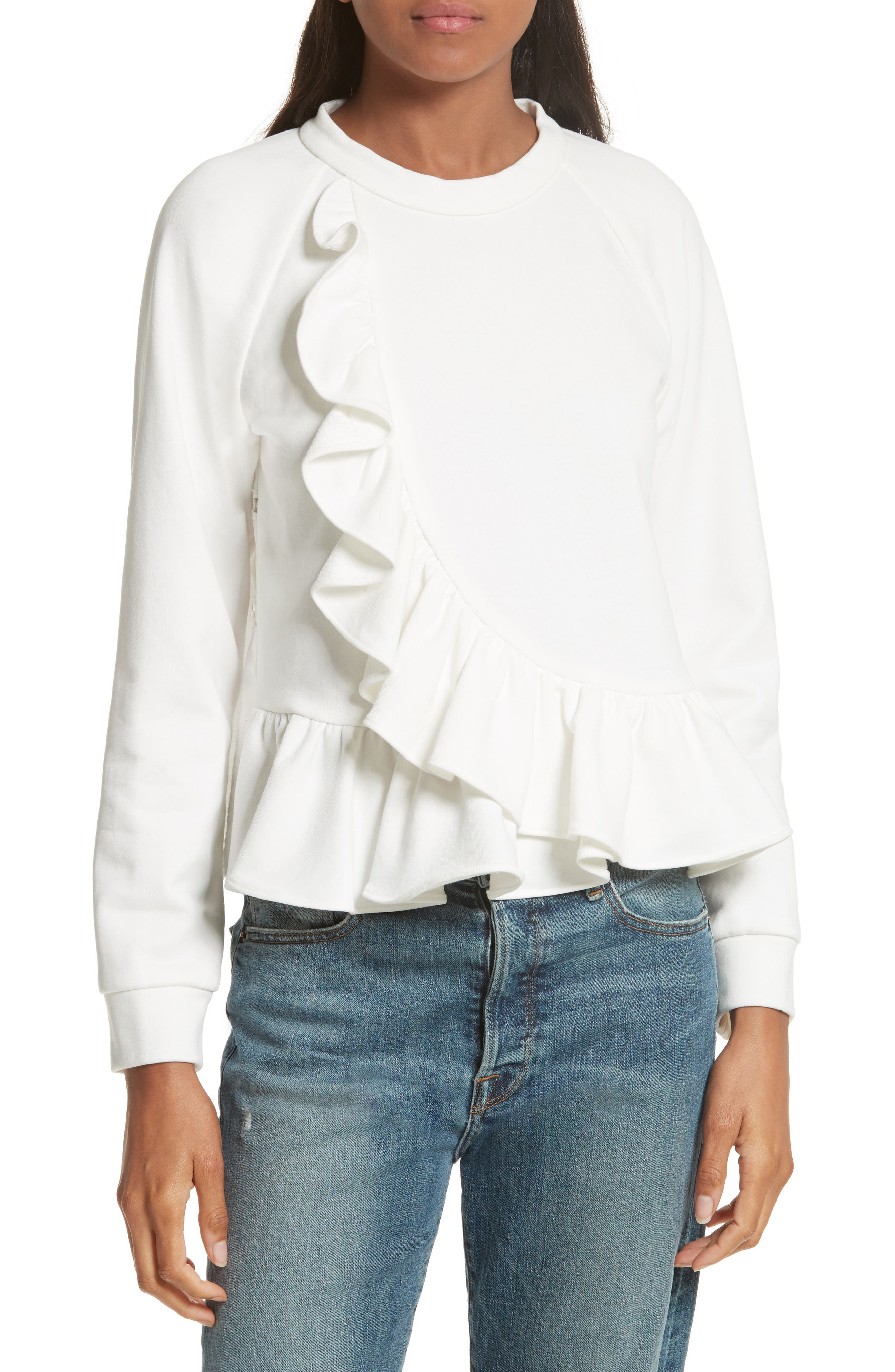 Ruffle Crop Sweatshirt,                             Main thumbnail 1, color,                             Cream