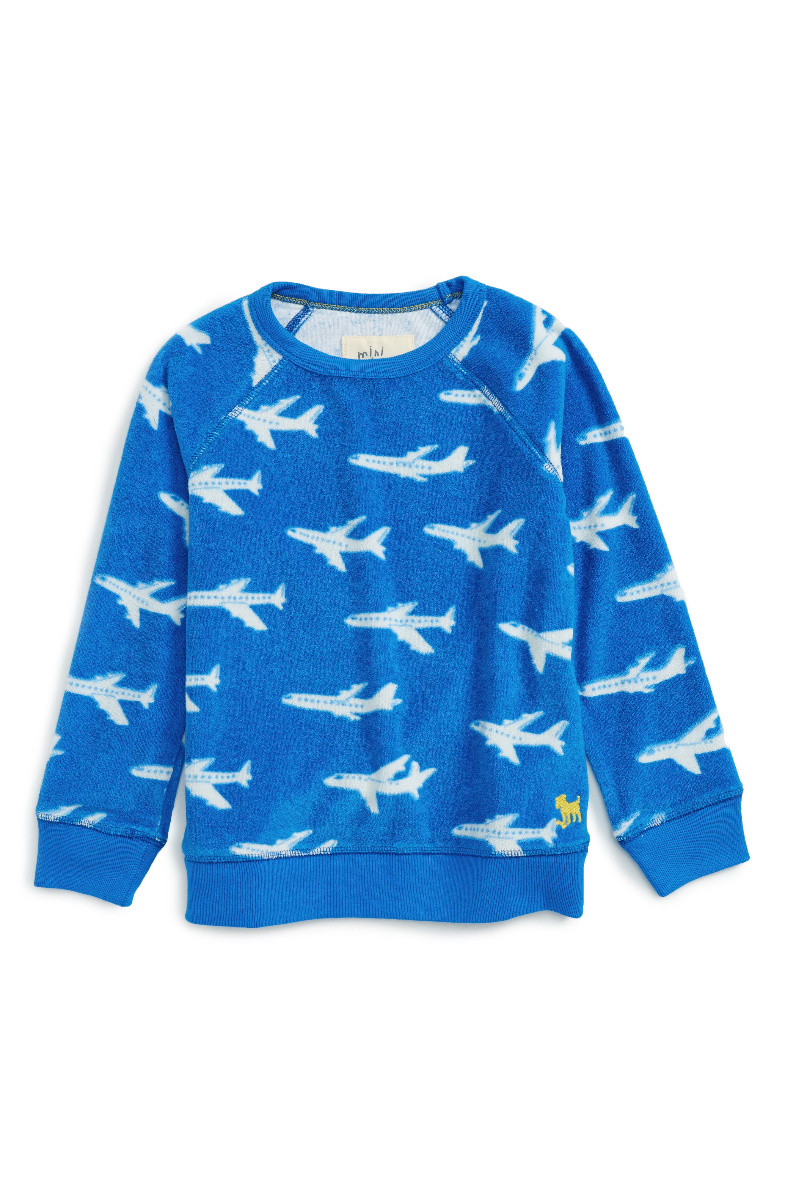 Toweling Sweatshirt,                         Main,                         color, Skipper Blue Planes