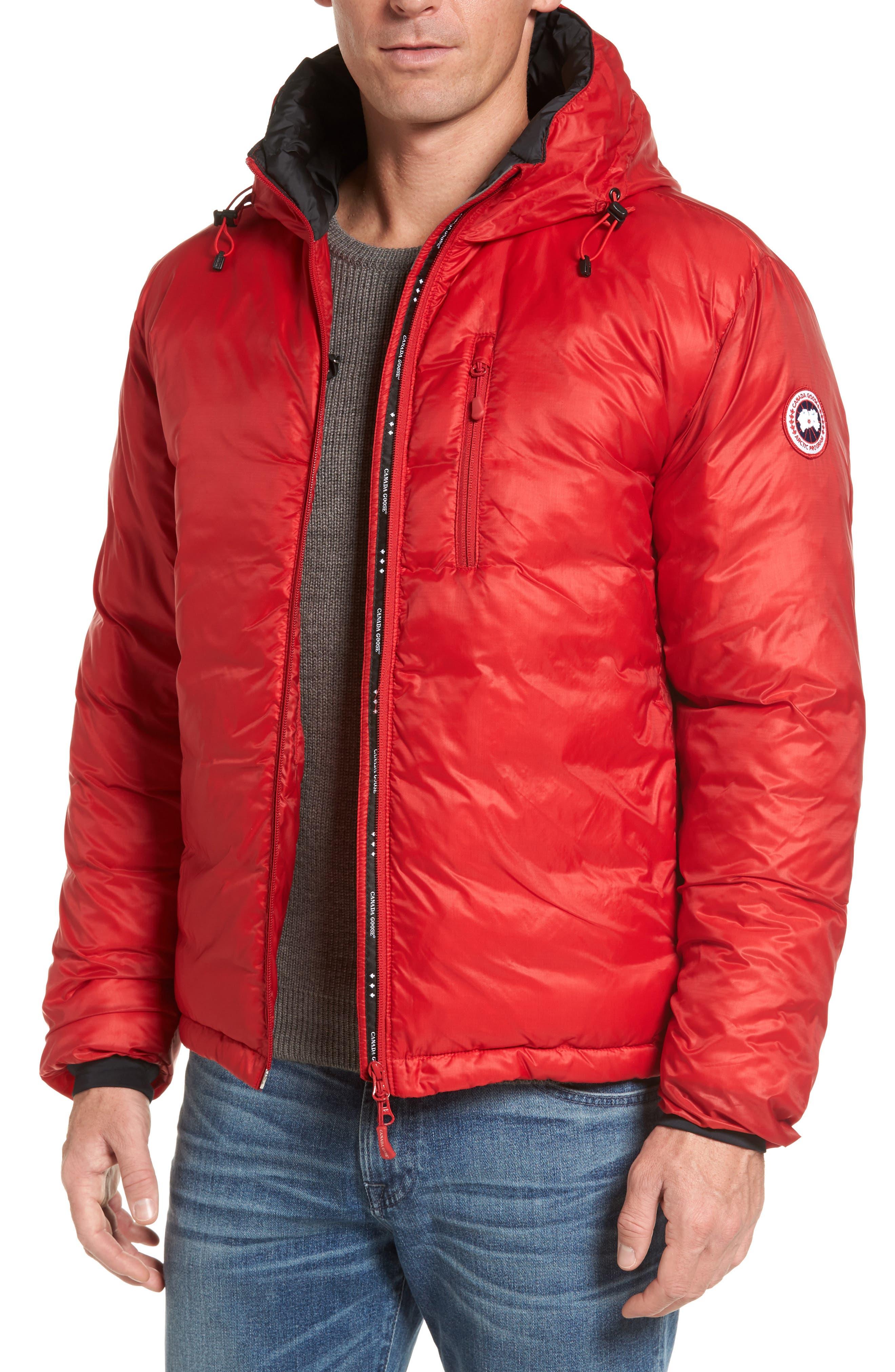 'Lodge' Slim Fit Packable Hoodie,                         Main,                         color, Red/ Black