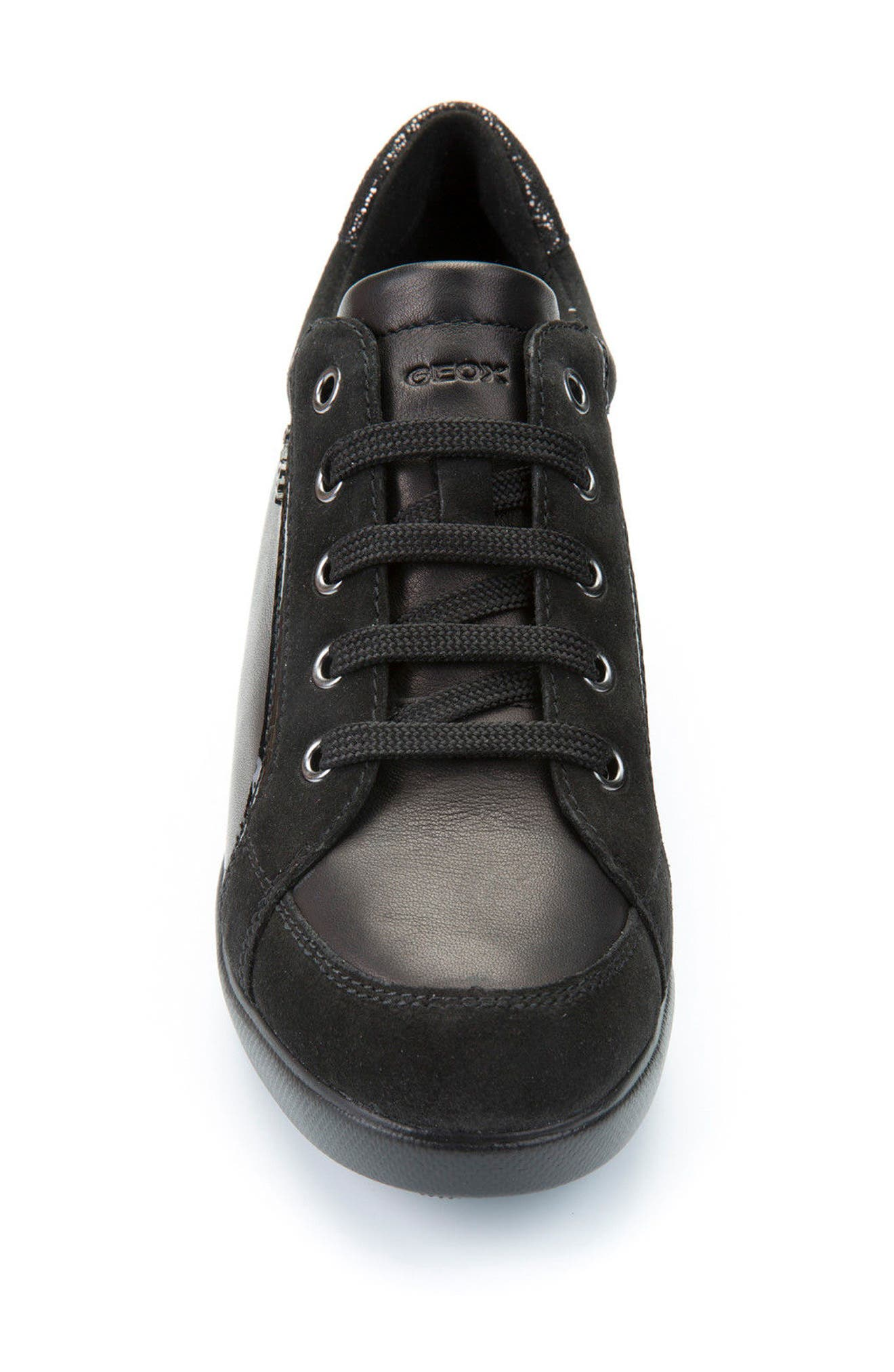 Stardust Wedge Sneaker,                             Alternate thumbnail 4, color,                             Black Leather