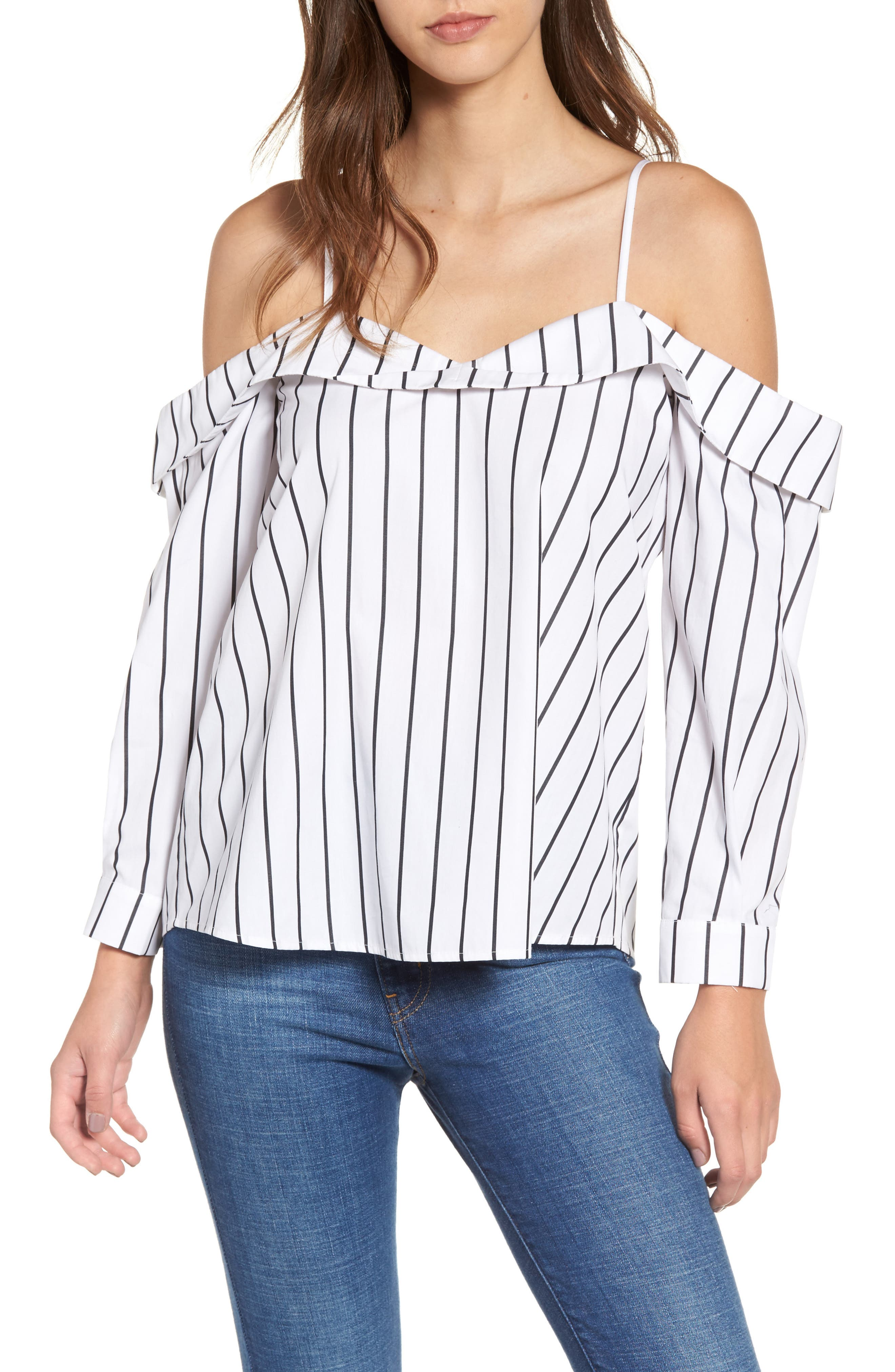 Stripe Off the Shoulder Top,                             Main thumbnail 1, color,                             White Space Stripe