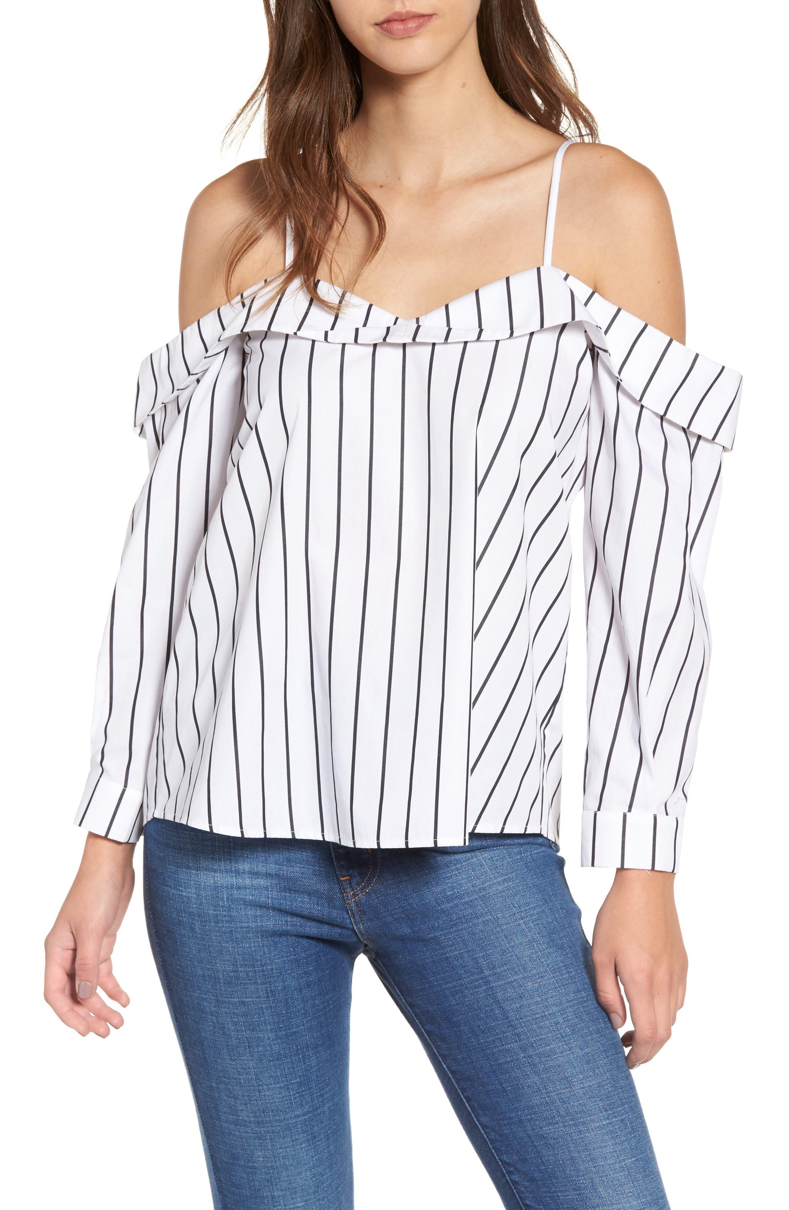 Stripe Off the Shoulder Top,                         Main,                         color, White Space Stripe