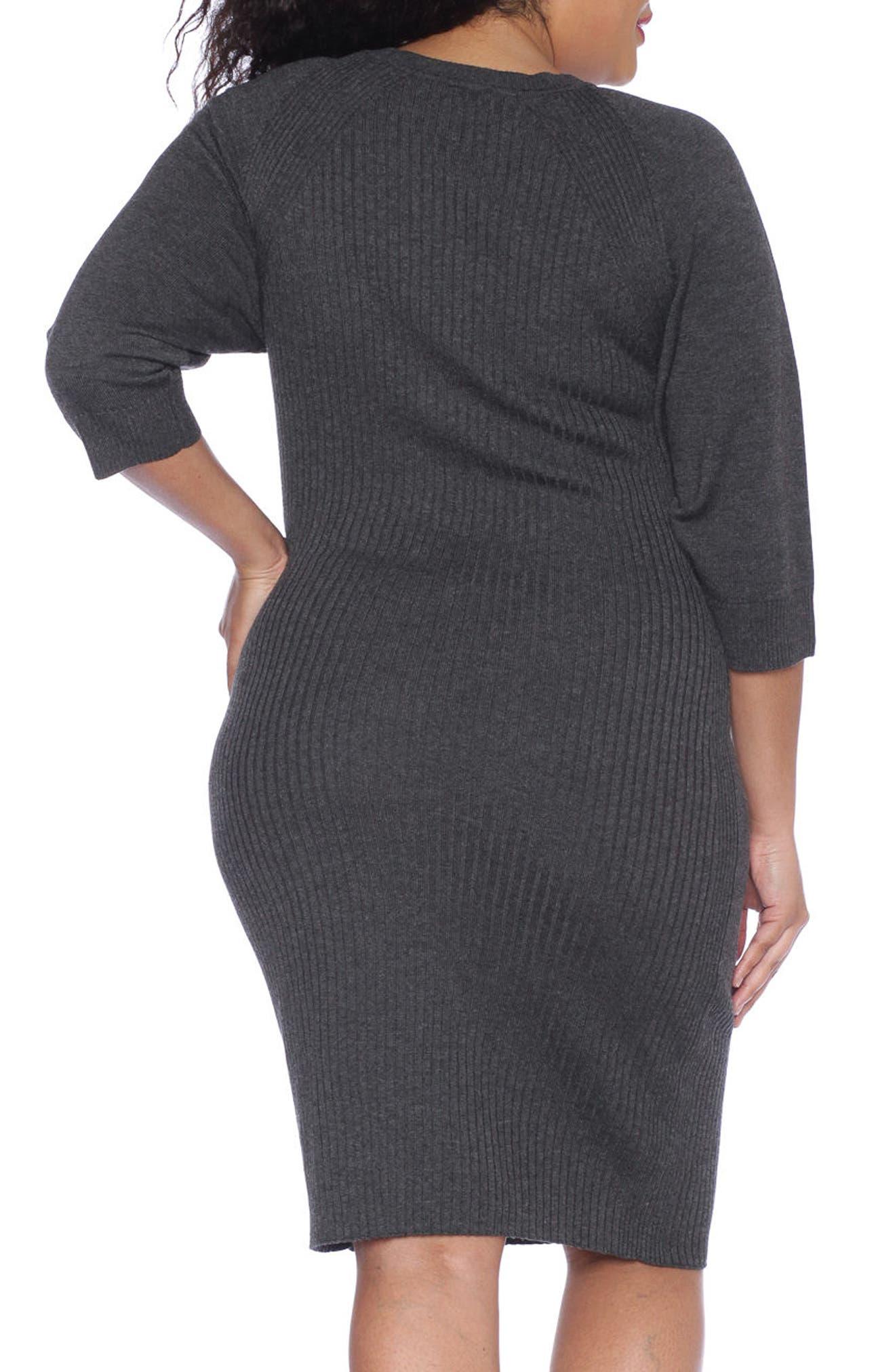 Ribbed Sweater Dress,                             Alternate thumbnail 2, color,                             Dark Stone