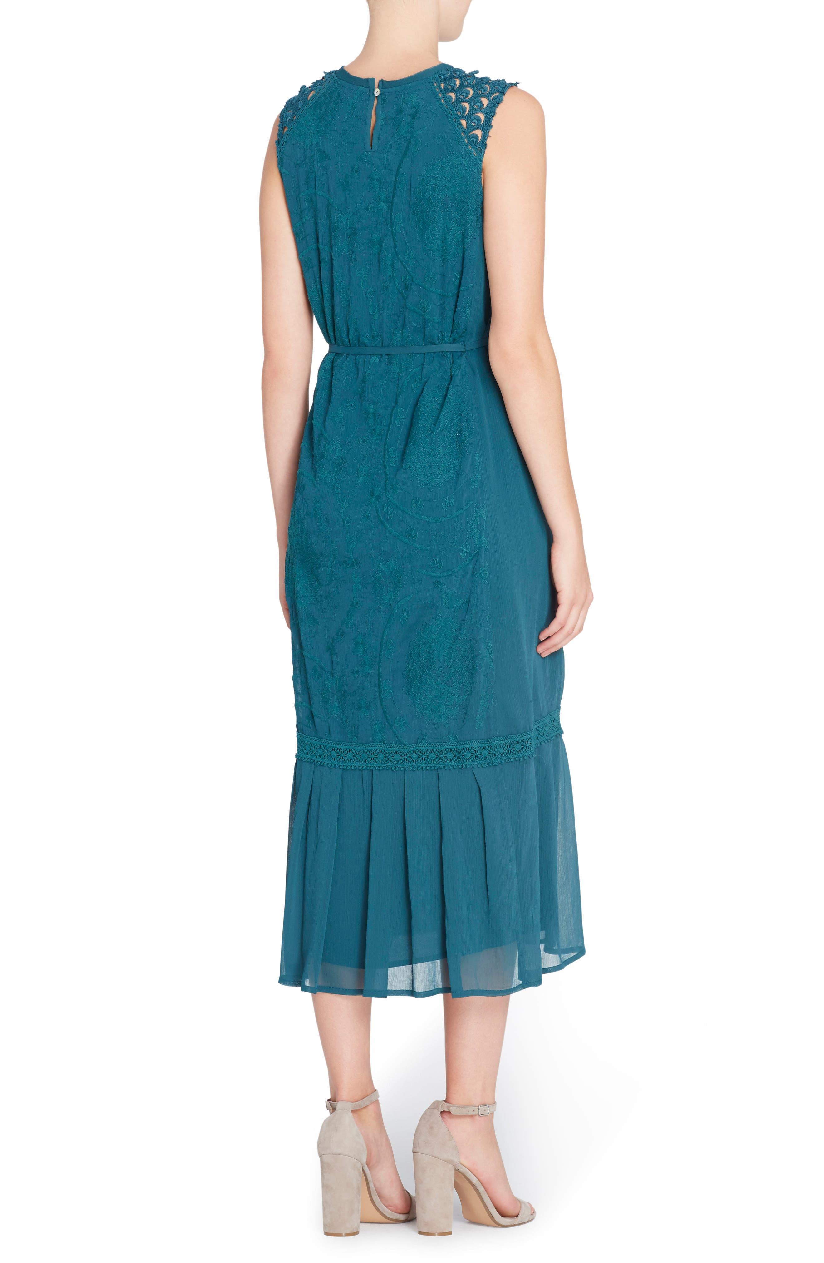 Ellen Embroidered Midi Dress,                             Alternate thumbnail 2, color,                             Deep Teal