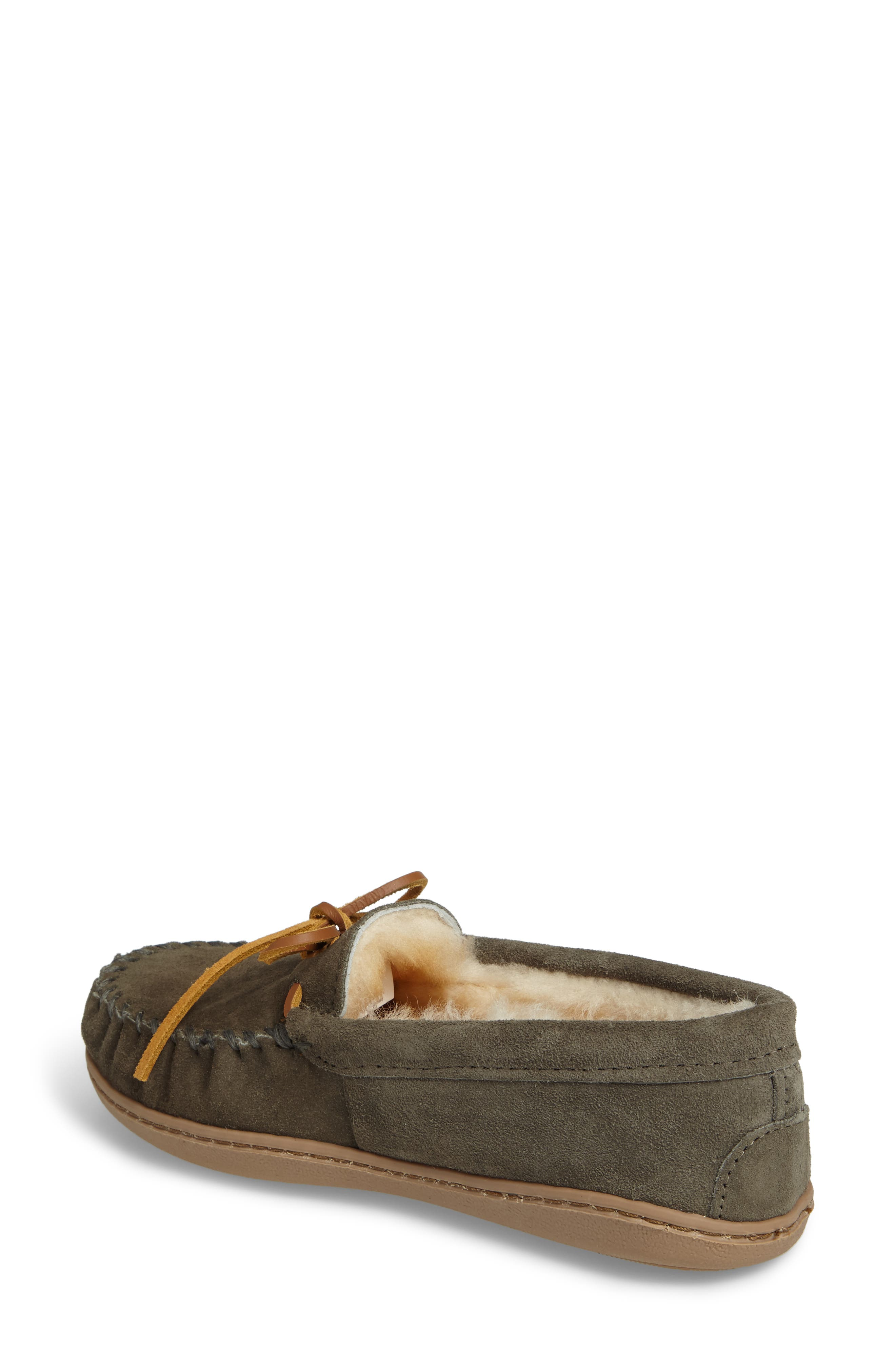 Genuine Shearling Hard Sole Moccasin Indoor/Outdoor Slipper,                             Alternate thumbnail 2, color,                             Grey