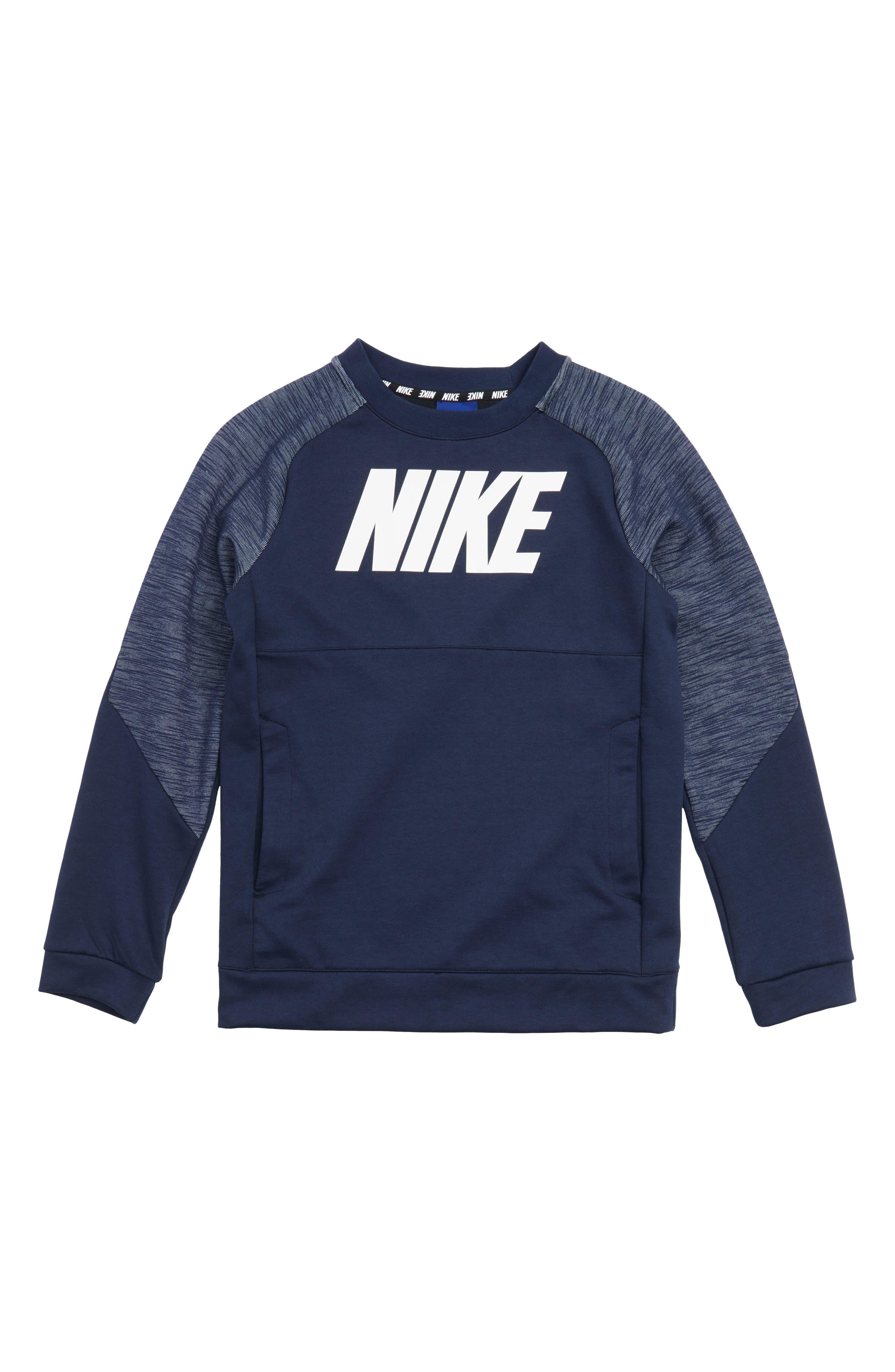 Colorblock Raglan Logo Sweatshirt,                         Main,                         color, Obsidn/ White