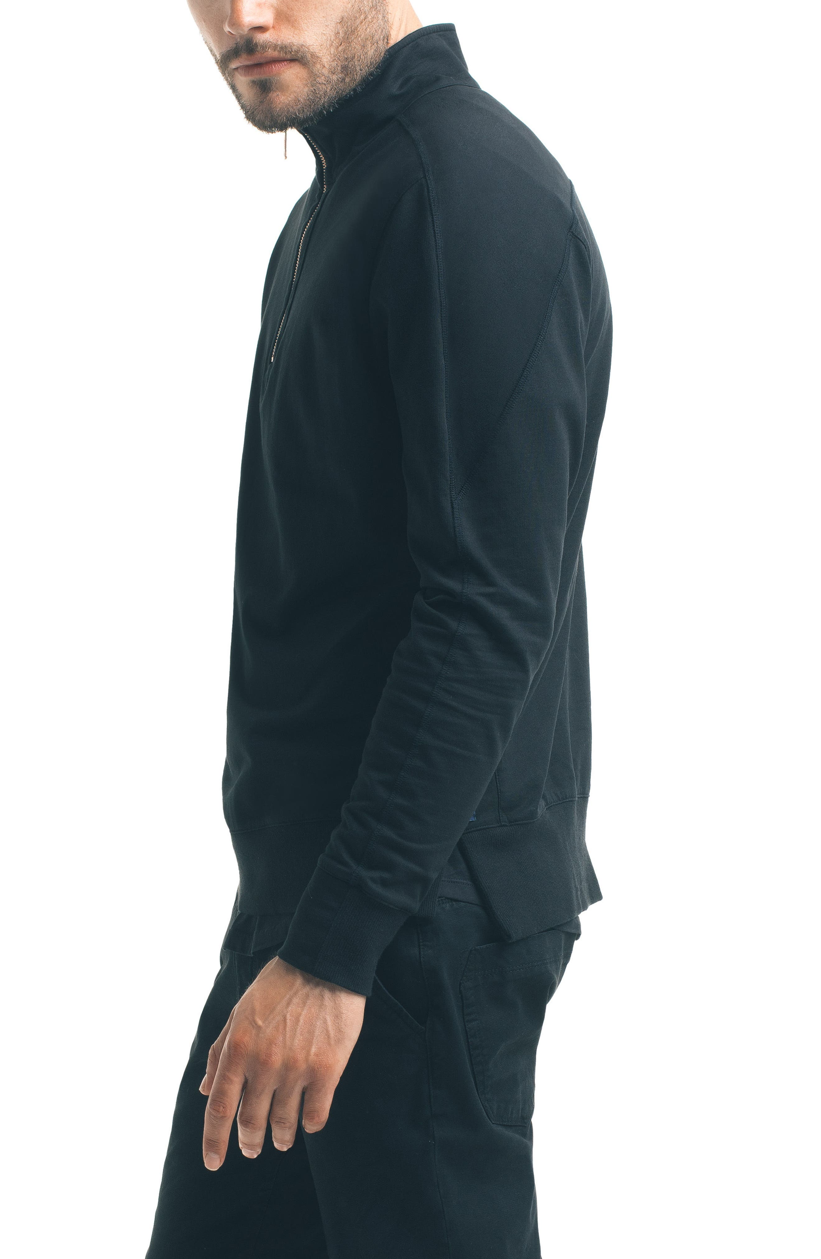 Slim Pro Quarter Zip Pullover,                             Alternate thumbnail 3, color,                             Black