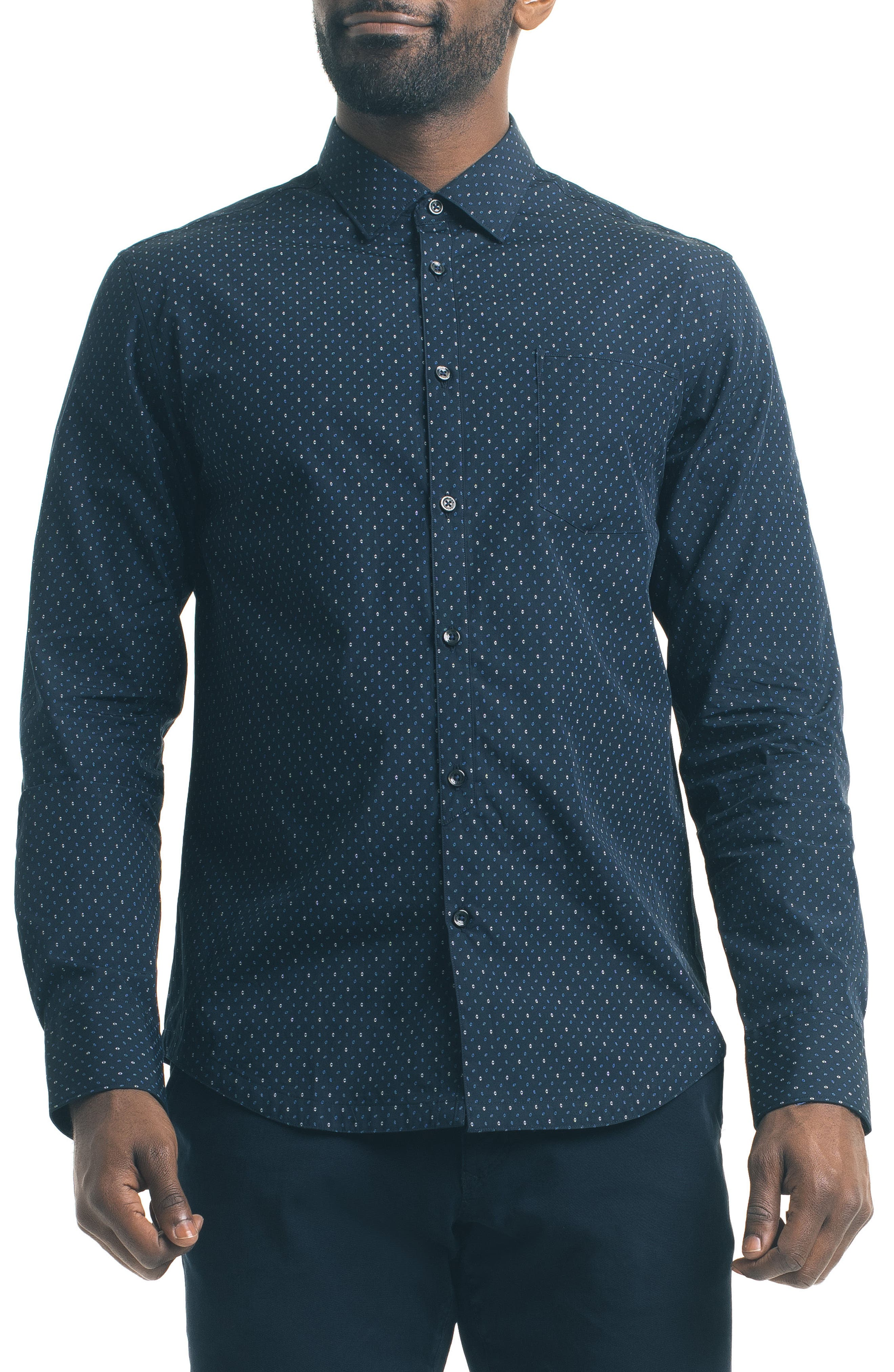 Slim Fit Diamond Print Sport Shirt,                         Main,                         color, Navy