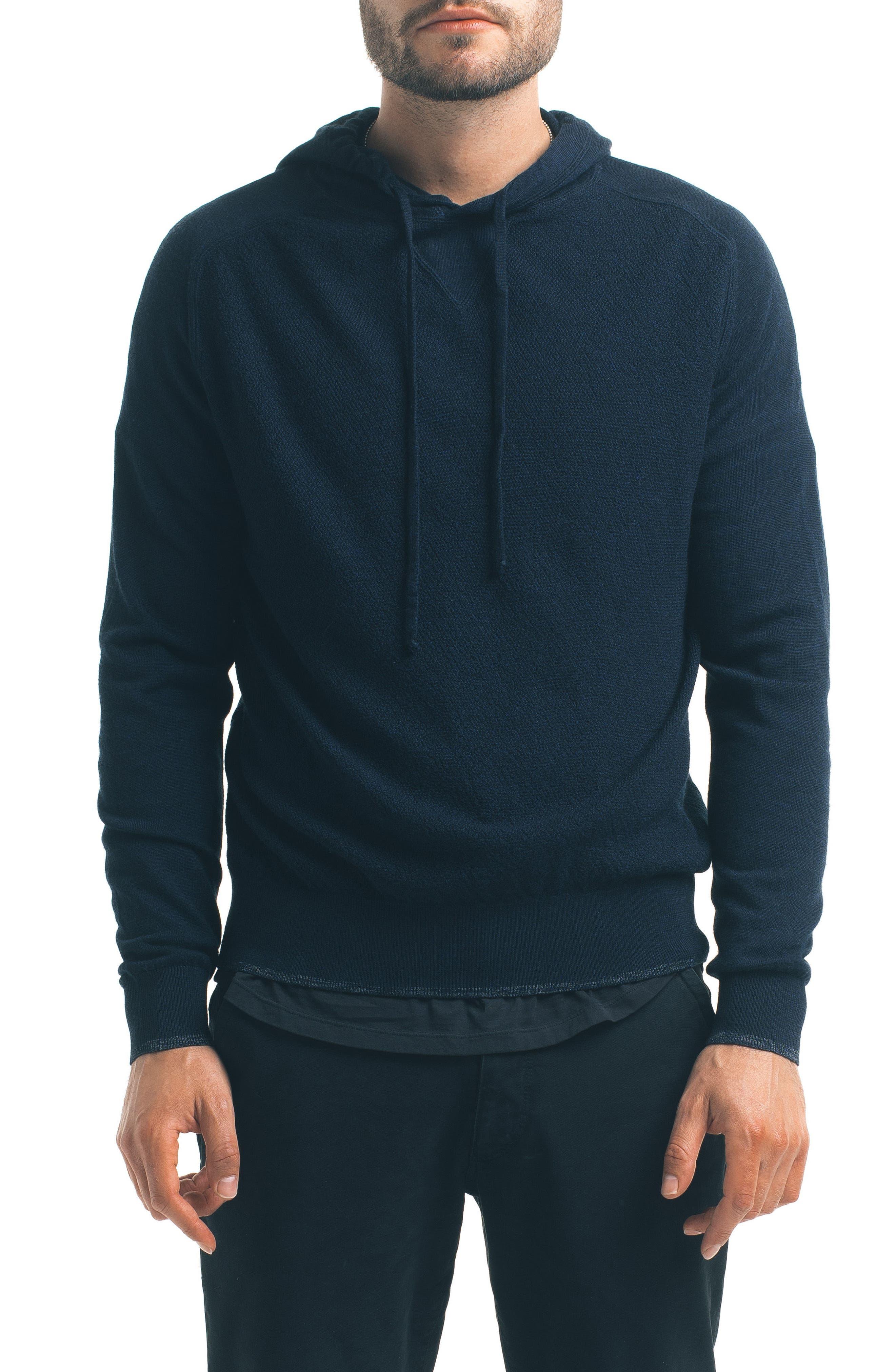 Classic Slim Fit Merino Wool Hoodie,                         Main,                         color, Navy