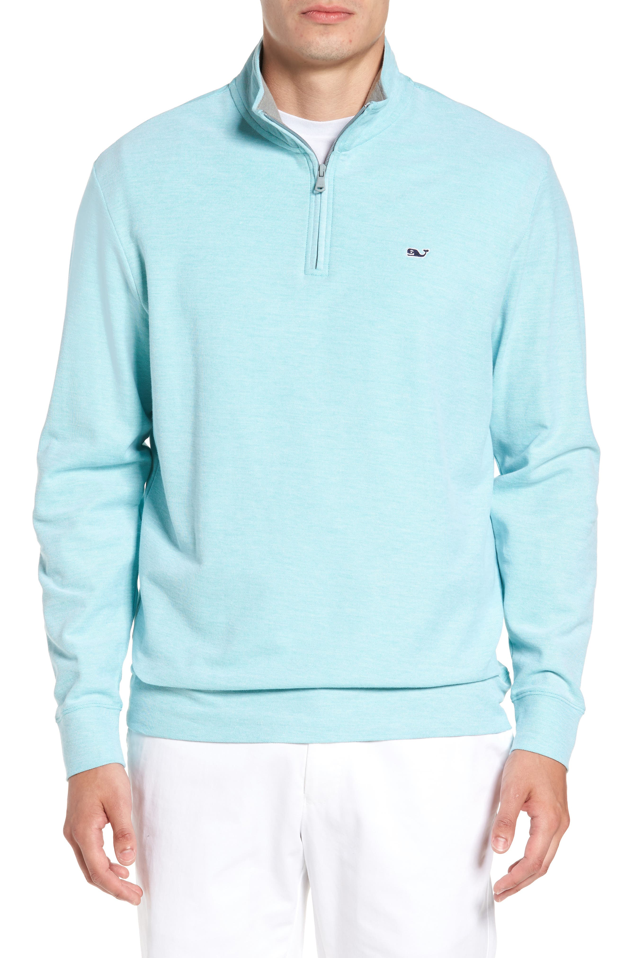 Reverse Oxford Quarter Zip Pullover,                             Main thumbnail 1, color,                             Hammock Green