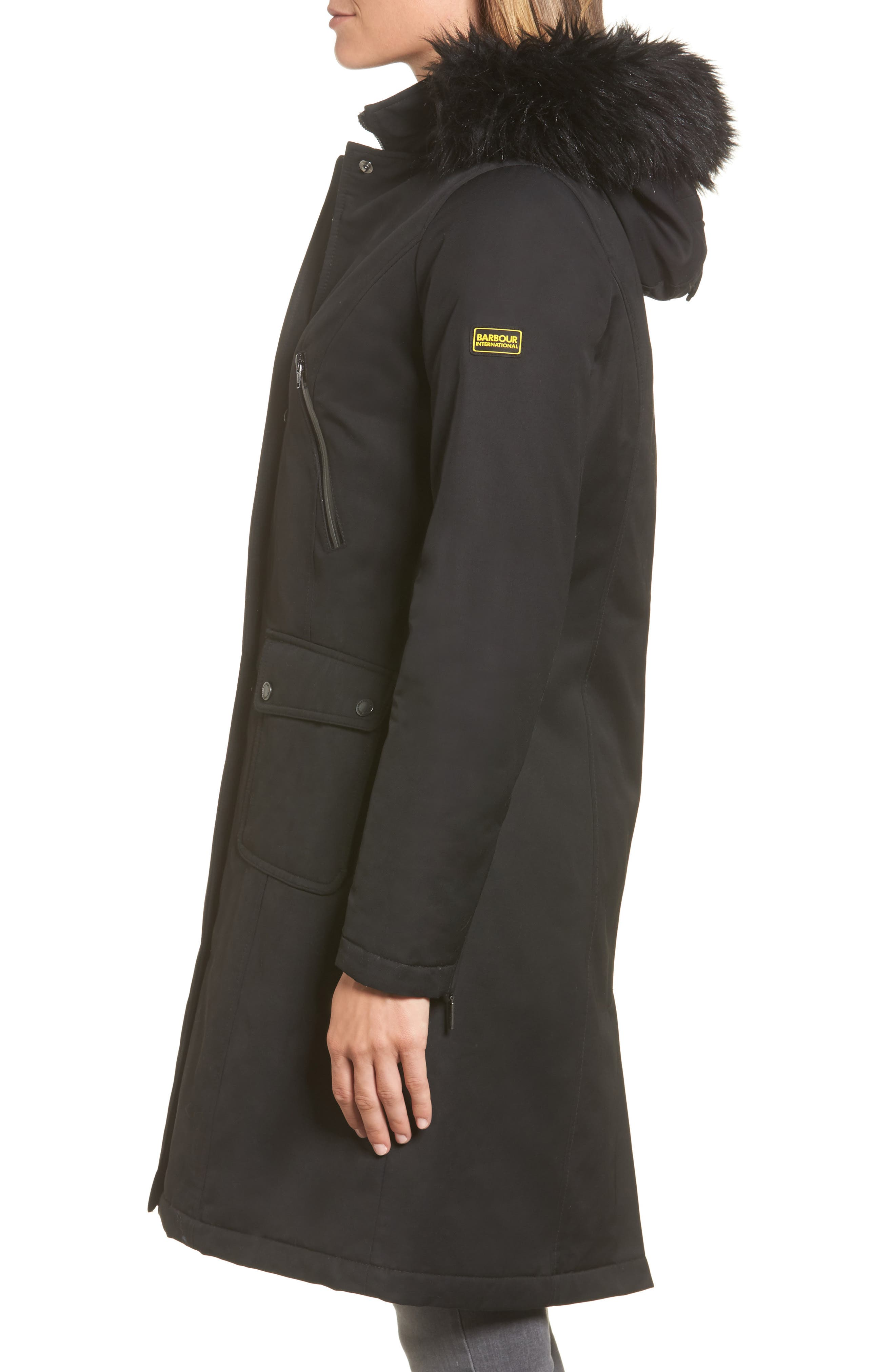 Mondello Hooded Water Resistant Jacket with Faux Fur Trim,                             Alternate thumbnail 3, color,                             Black