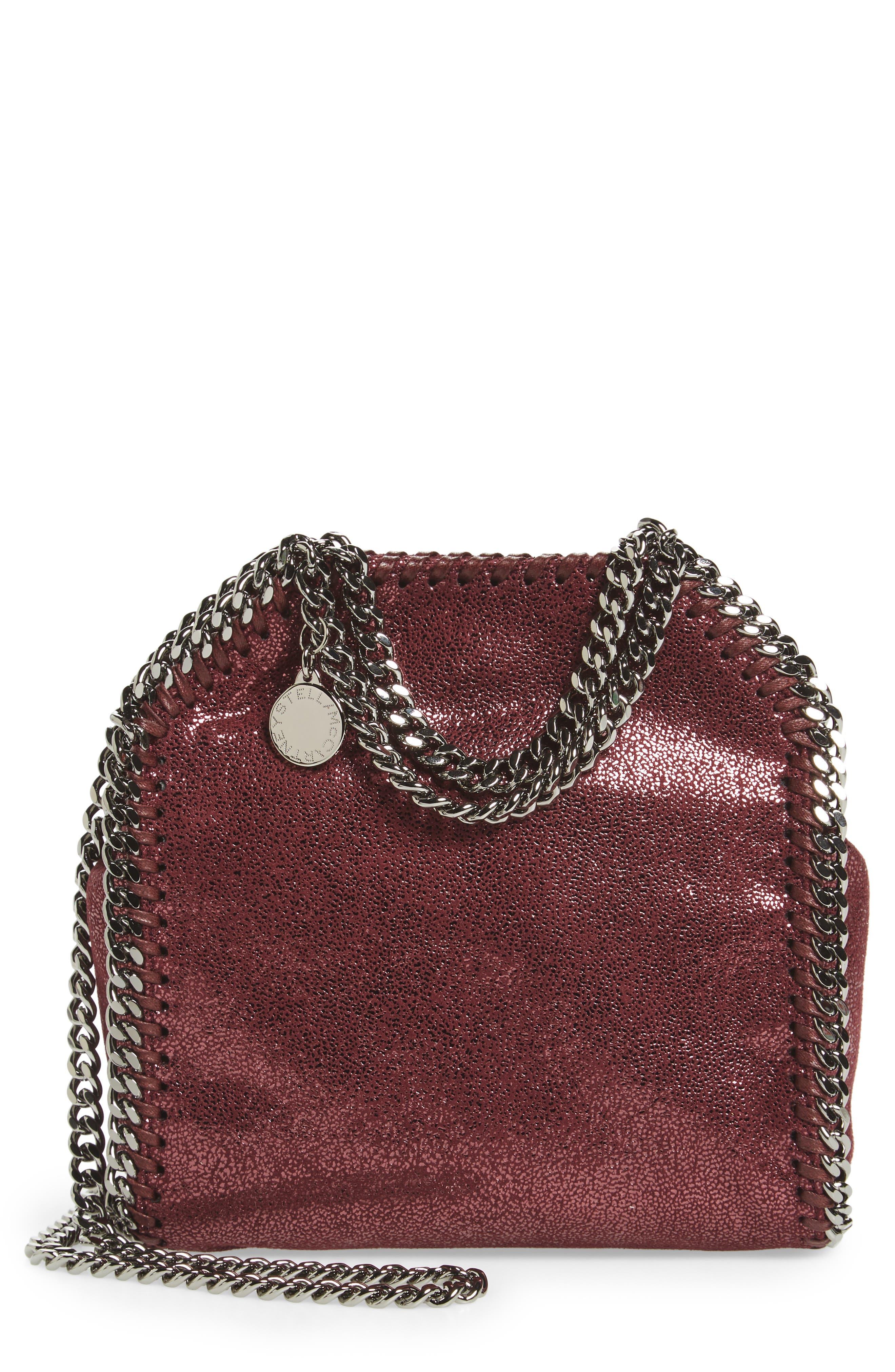 Stella McCartney 'Tiny Falabella' Metallic Faux Leather Crossbody Bag