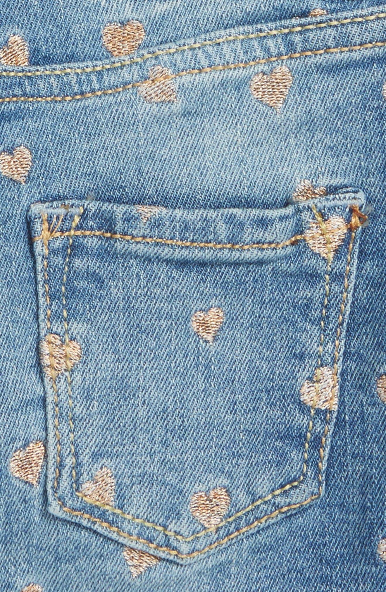 Mini Heart Cutoff Denim Shorts,                             Alternate thumbnail 3, color,                             Med Authentic