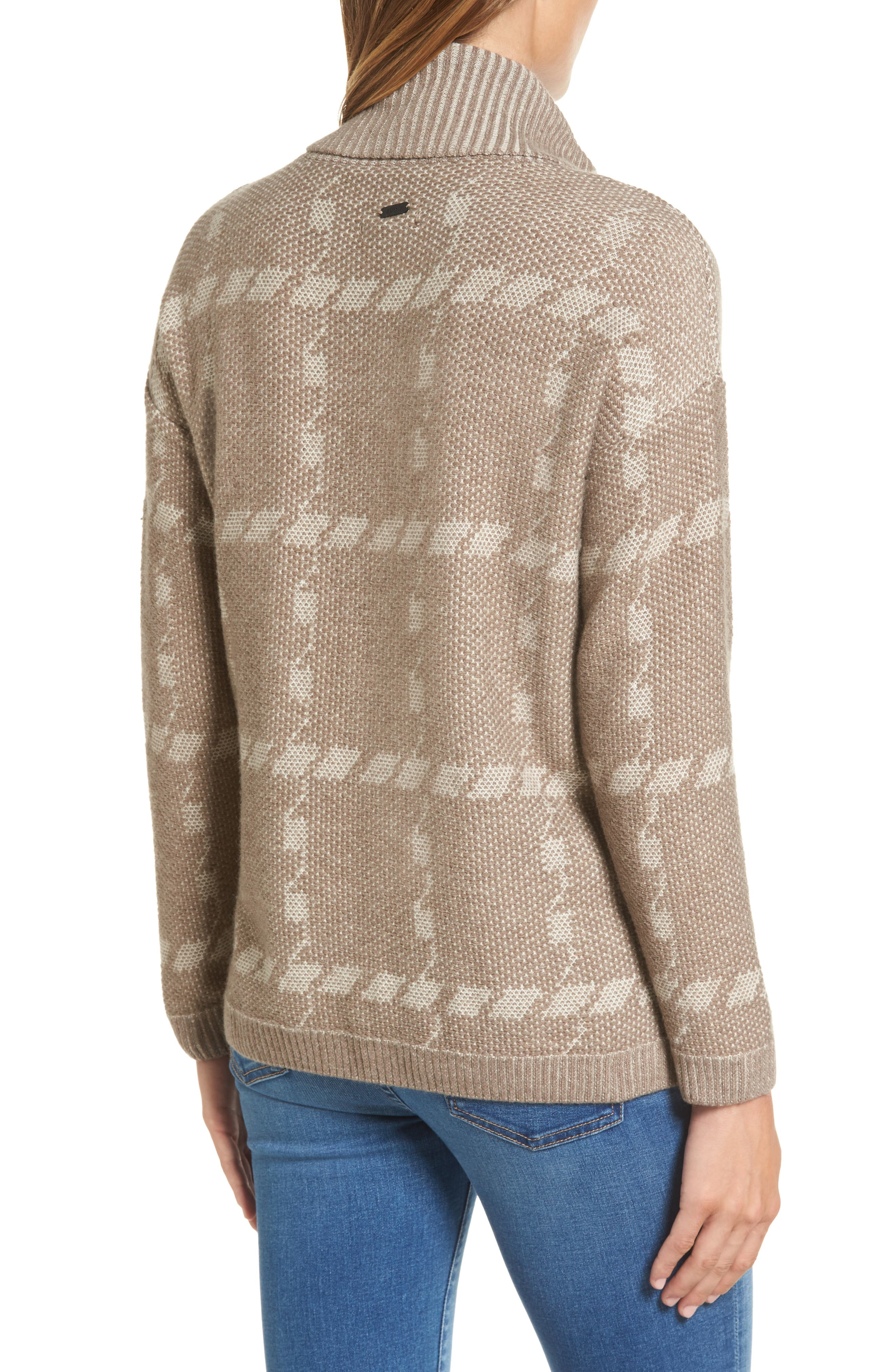Glen Knit Merino Wool Blend Turtleneck Sweater,                             Alternate thumbnail 2, color,                             Taupe
