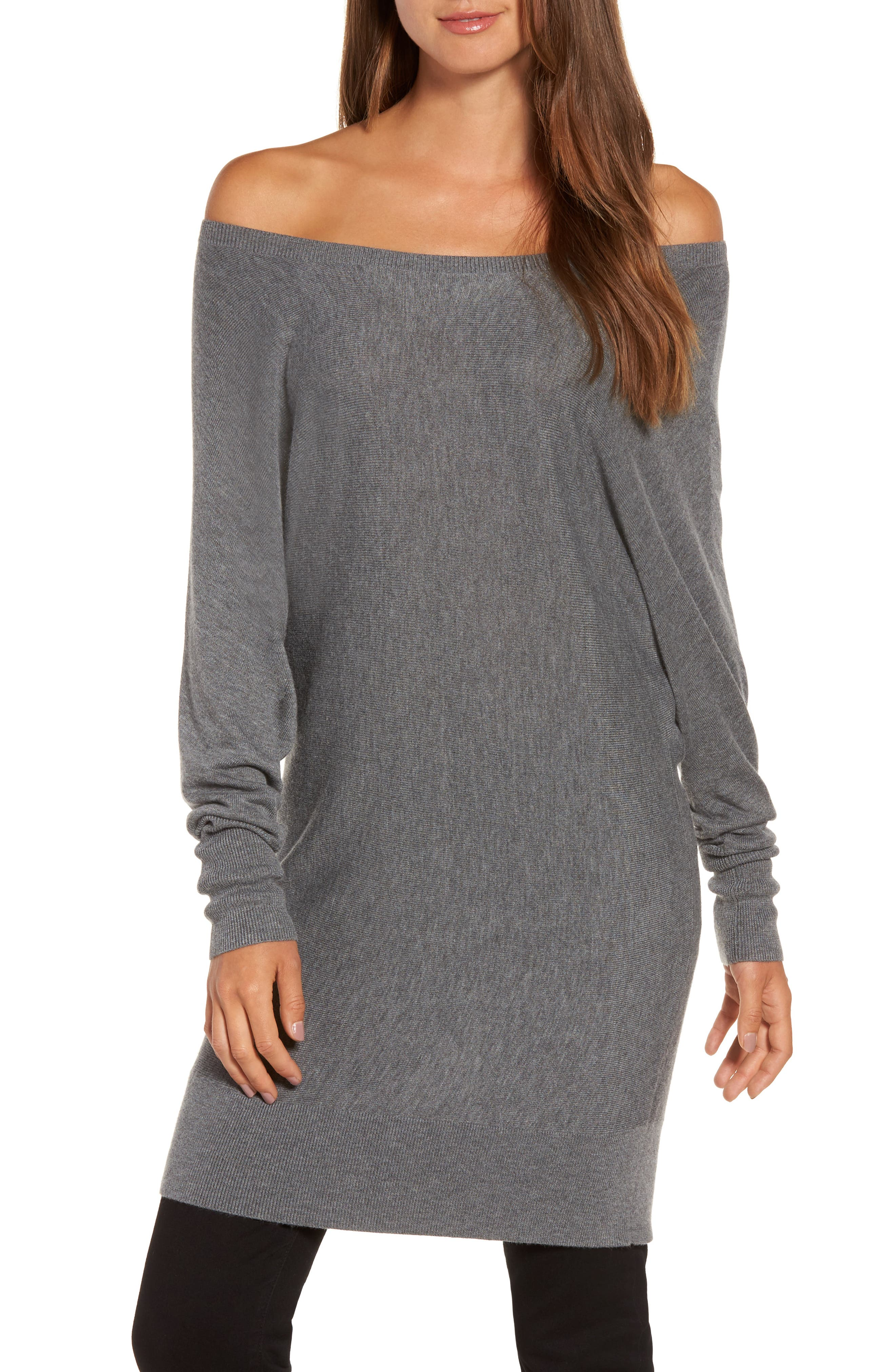 Main Image - Trouvé Off the Shoulder Sweater Tunic