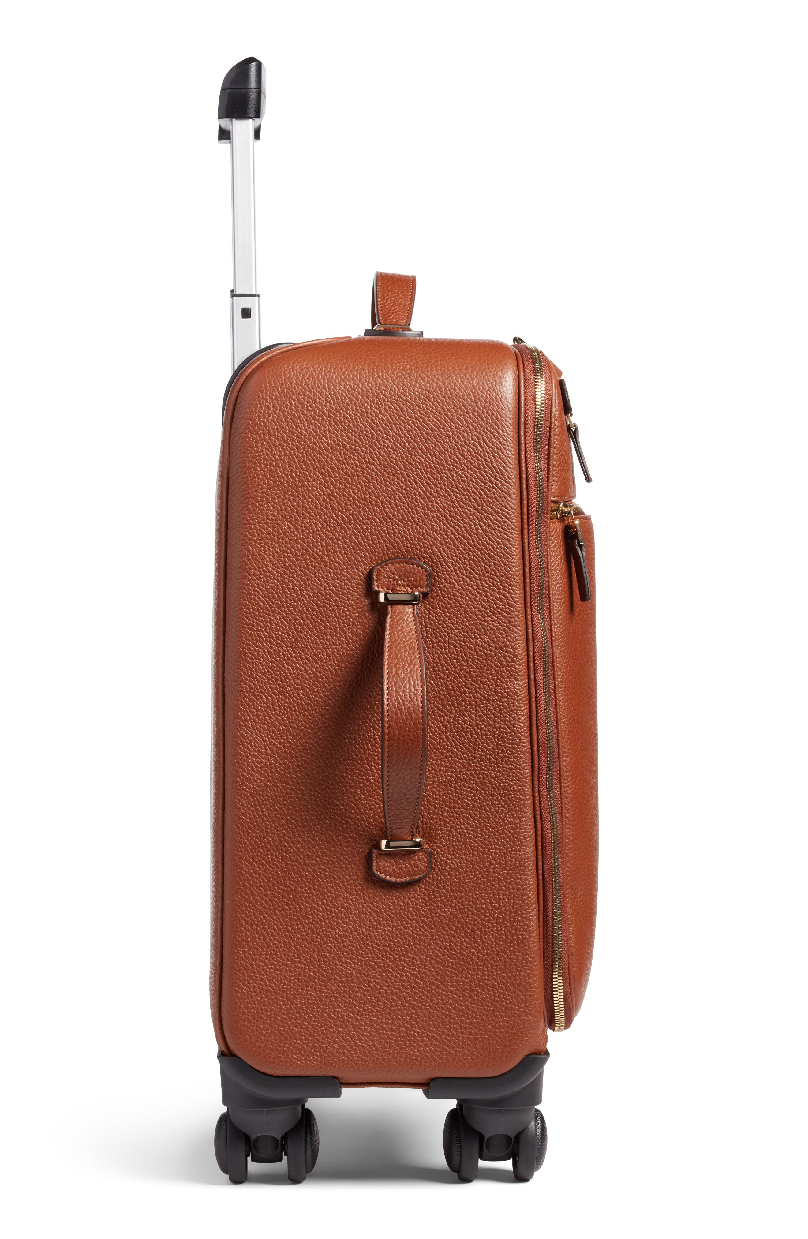 Trolley Spinner Wheeled Carry-On Suitcase,                             Alternate thumbnail 4, color,                             Sienna