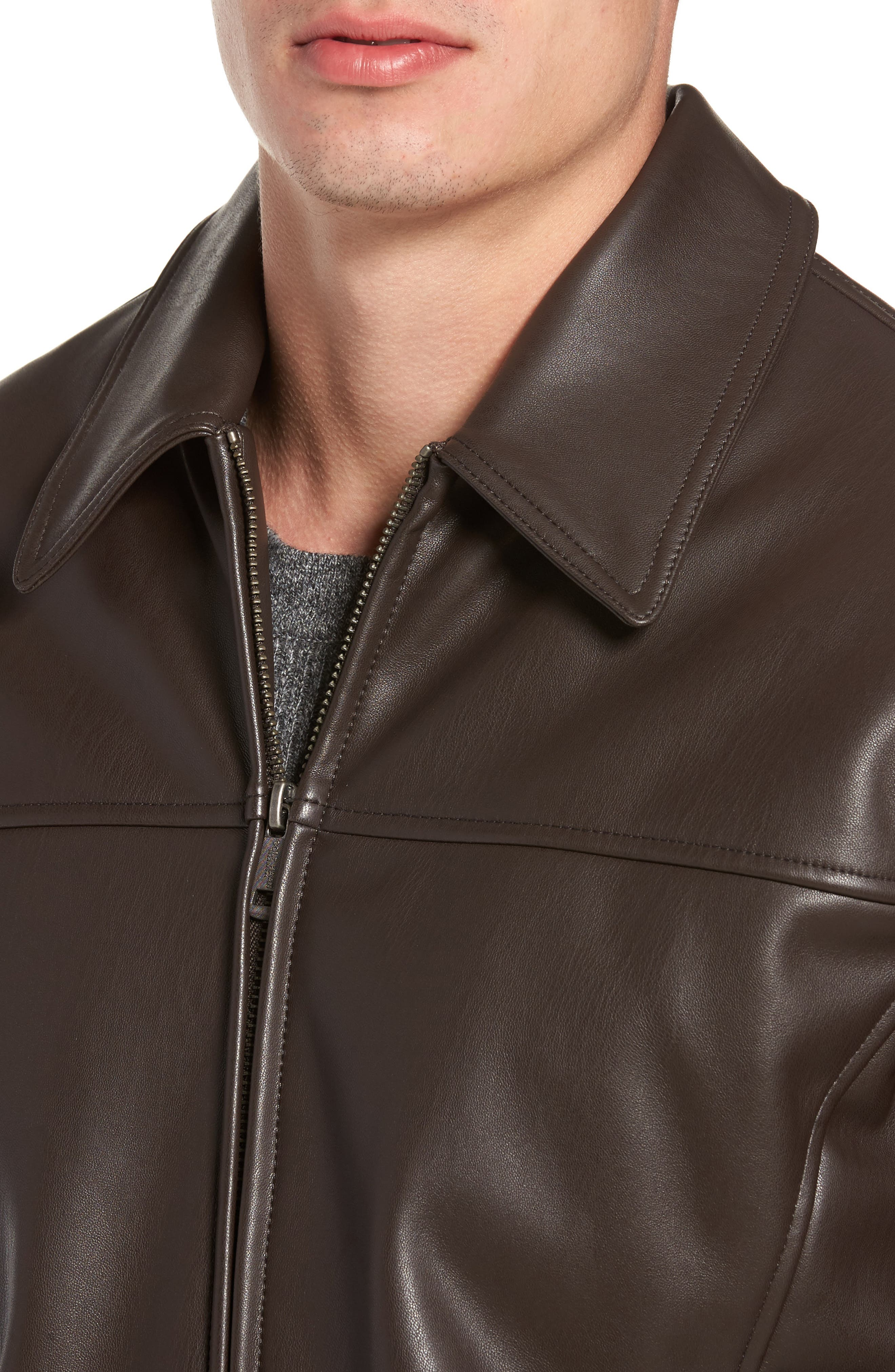 Collared Open Bottom Faux Leather Jacket,                             Alternate thumbnail 4, color,                             Dark Brown