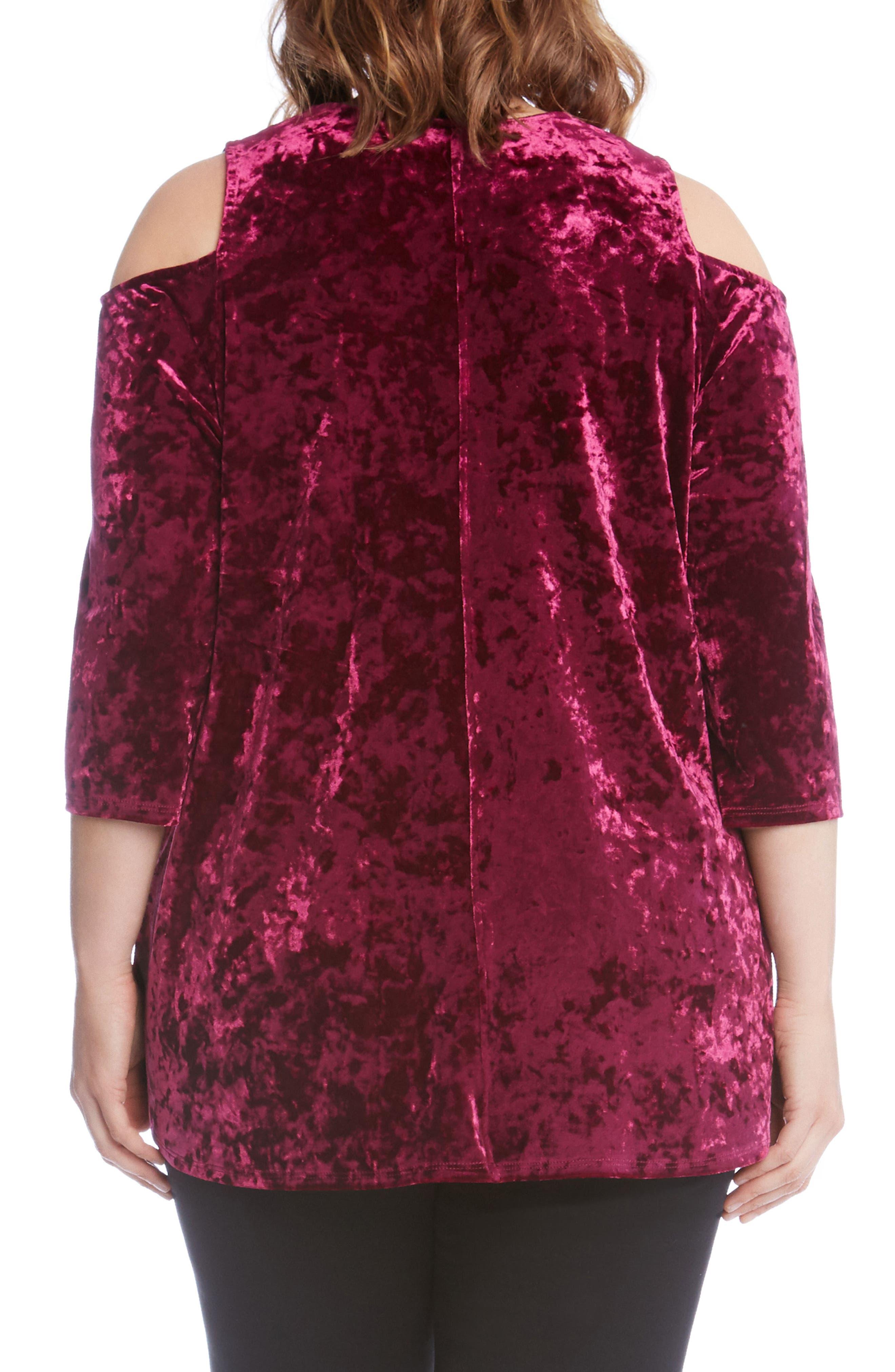 Alternate Image 2  - Karen Kane Cold Shoulder Velvet Top (Plus Size)